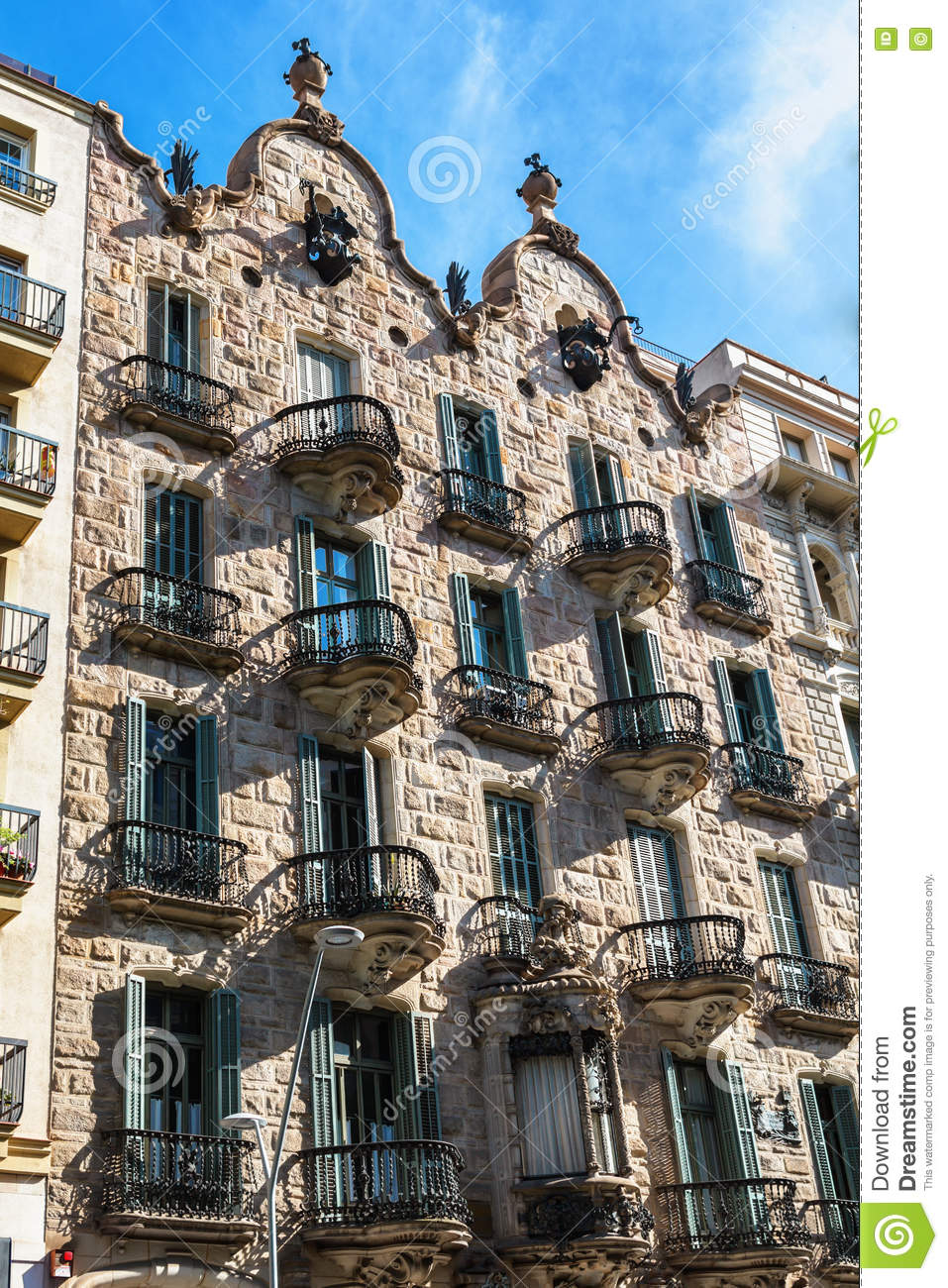 Barcelona, Spain - April 18, 2016: House facade Casa Calvet, designed by Antonio Gaudi