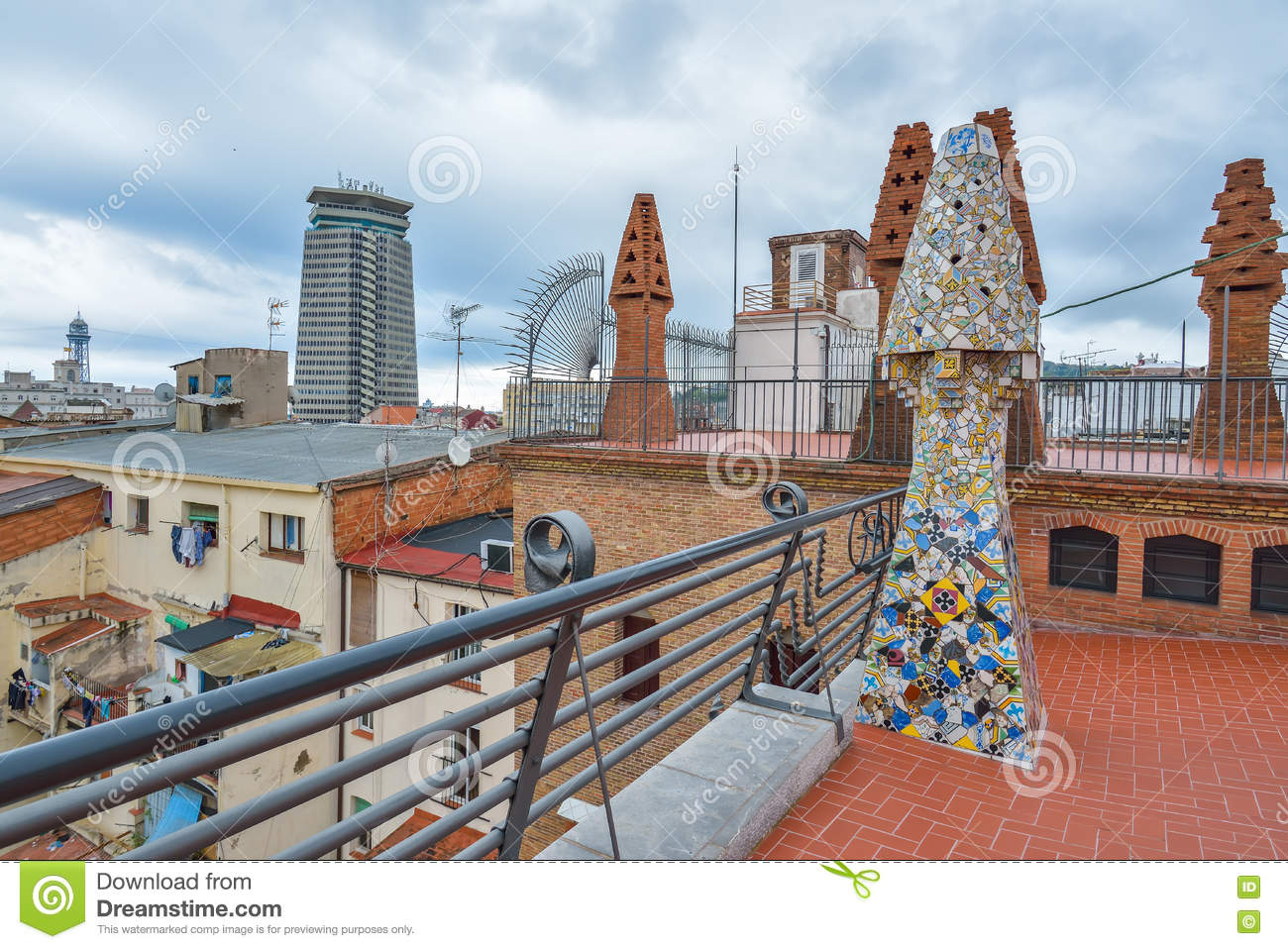 BARCELONA, SPAIN - APRIL 28: Roof Terrace Of Palau Guell ...