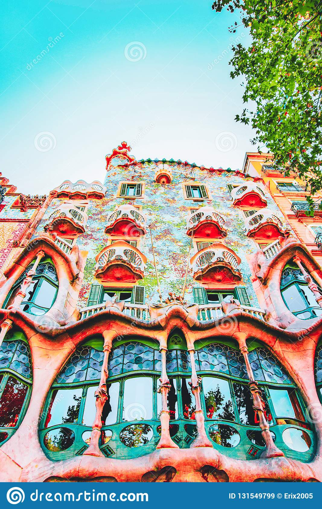 Barcelona, Spain - August 14, 2011: Facade of Casa Batllo building in Barcelona in Spain. It is also called as House of Bones. It