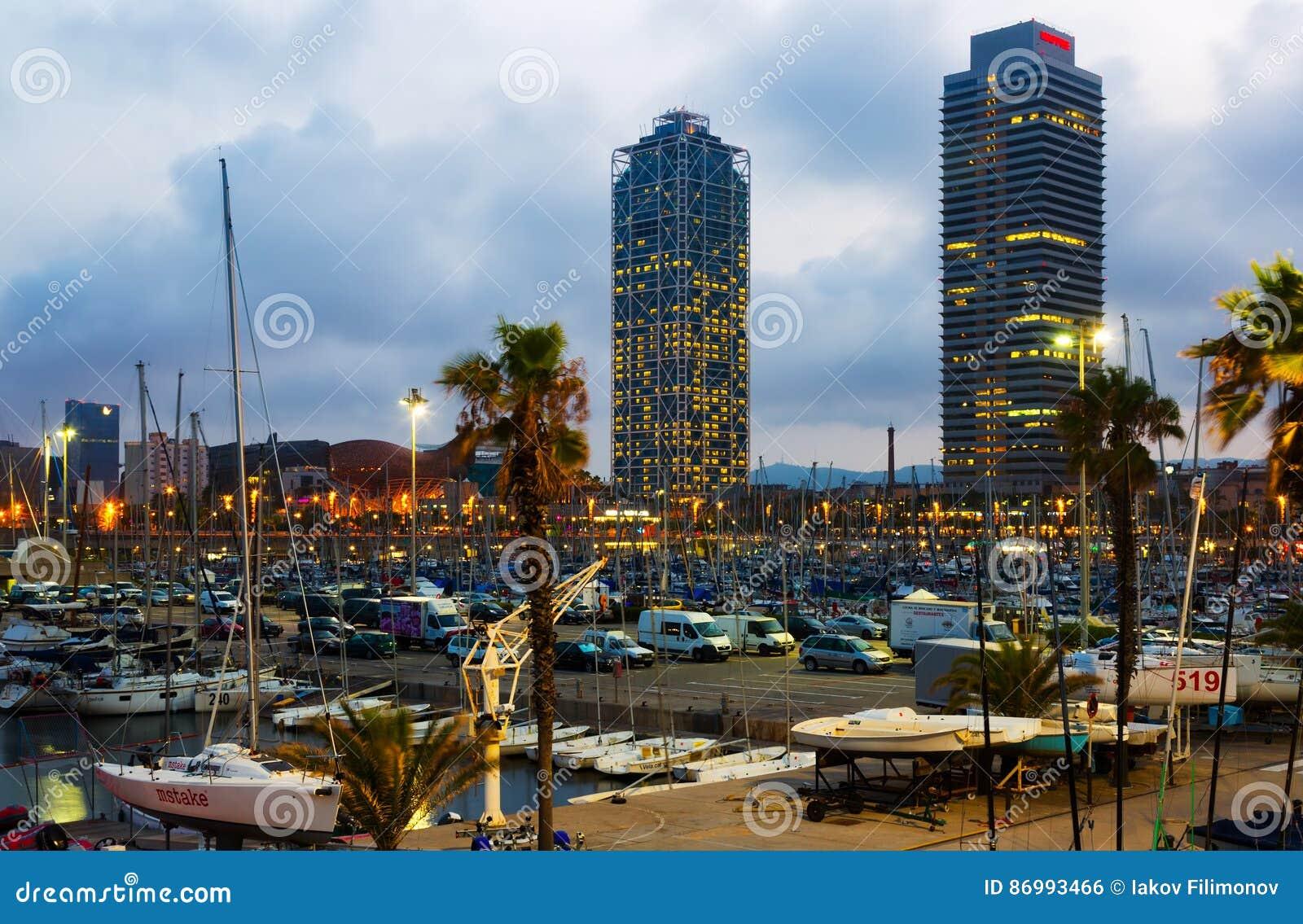 Twilight view of Port Olimpic.