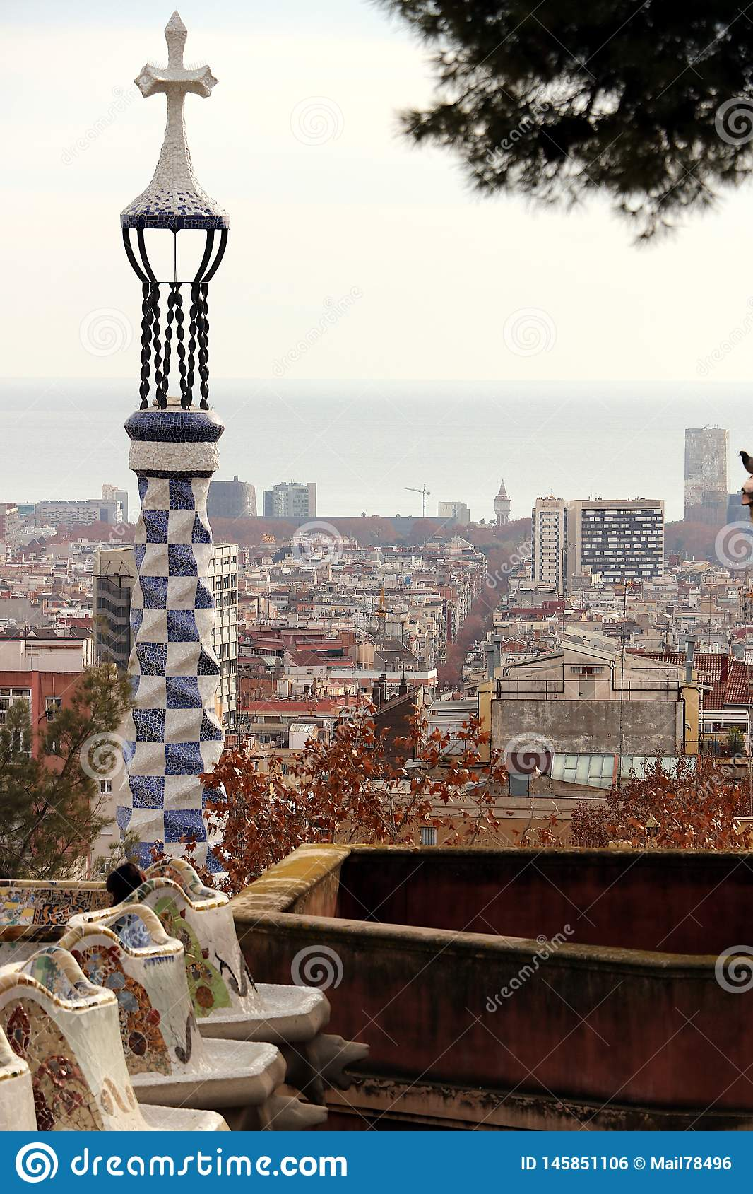 Barcelona. 01/02/2016. Terrace of the Guell Park designed by Ant