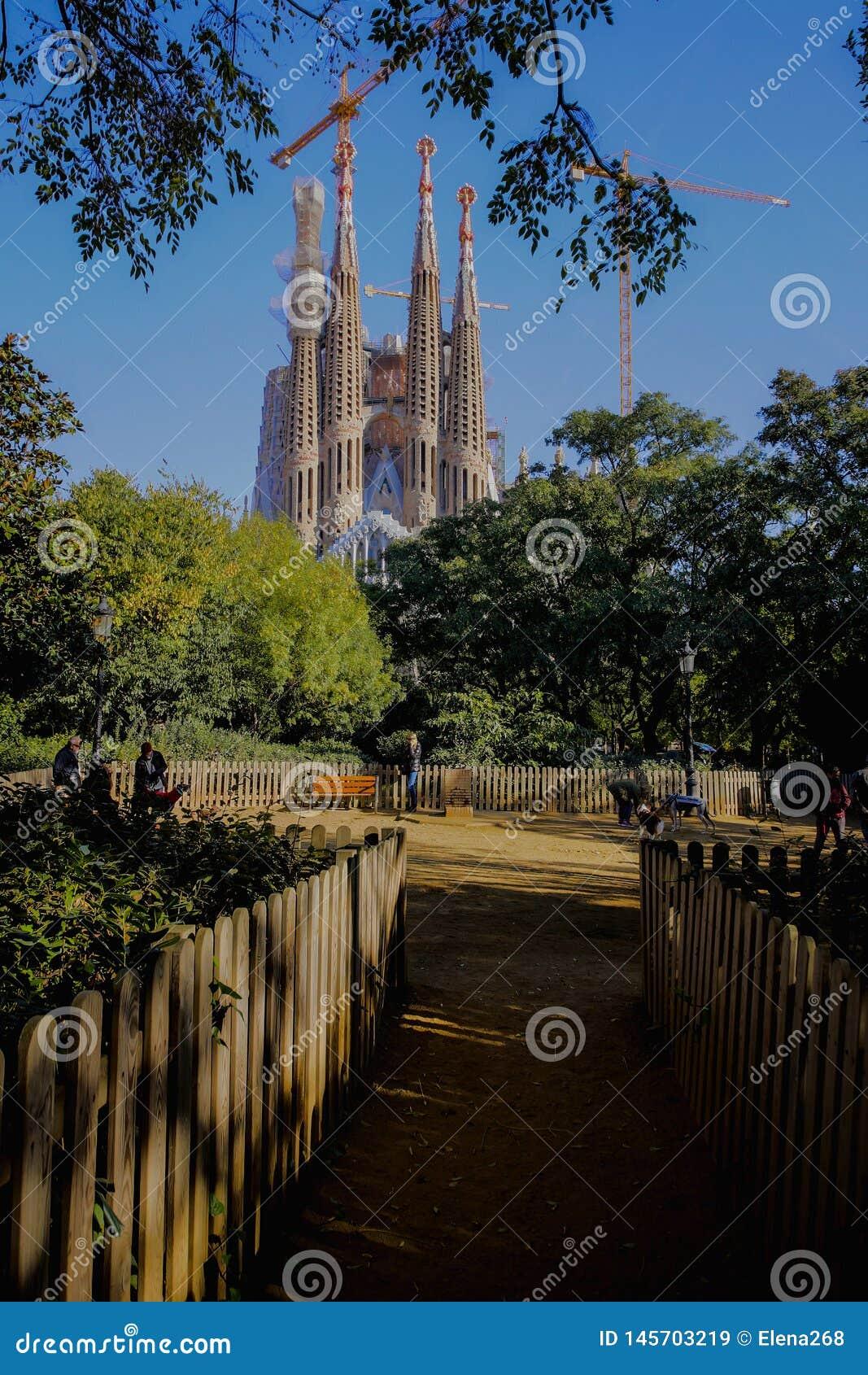 Barcelona, Basilica of Sagrada familia by  Antonio Gaudi