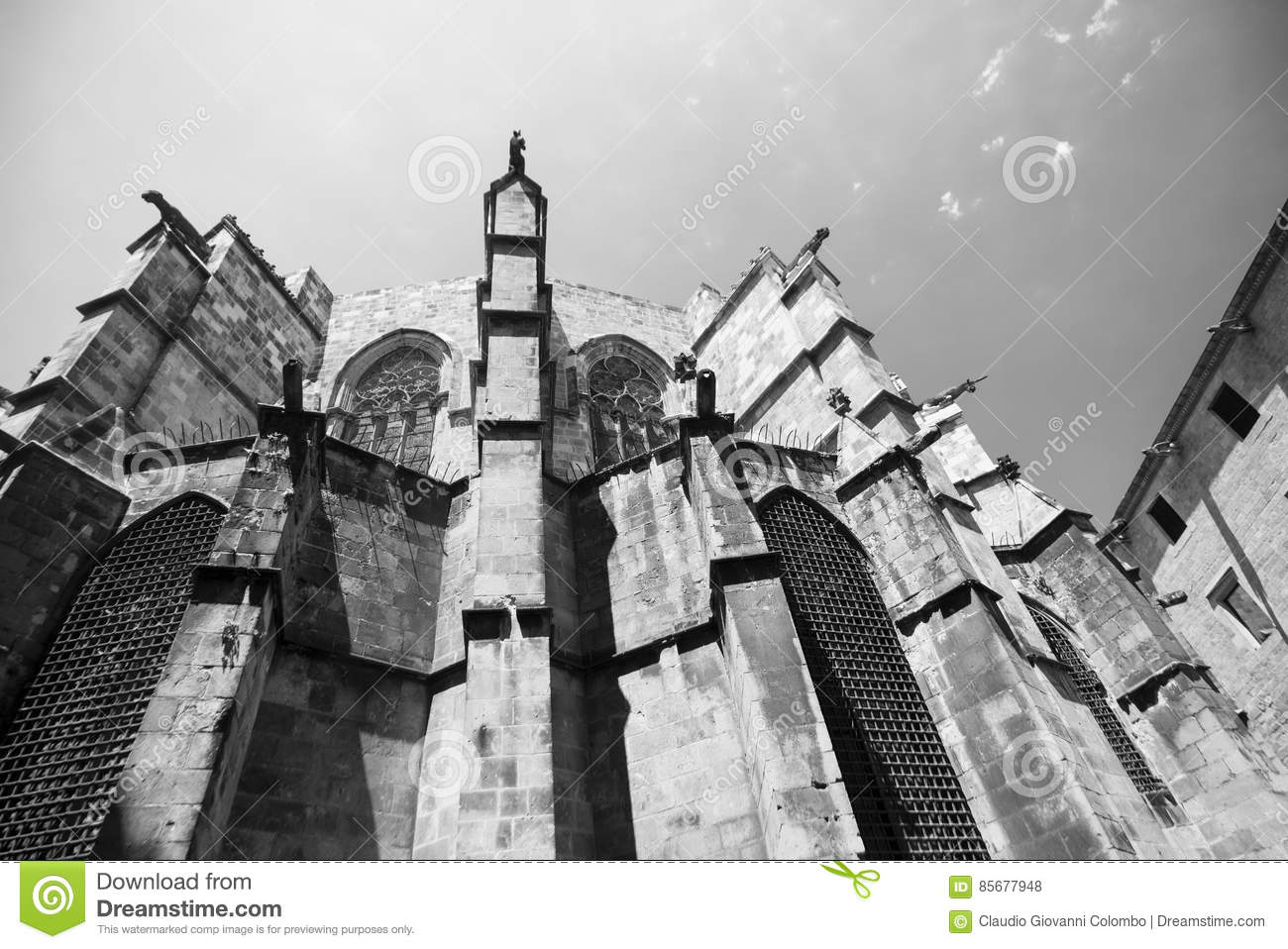 Barcelona Catalunya Spain The Medieval Cathedral In Gothic Style Apse Black And White