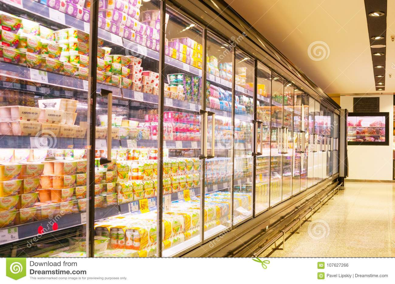 BARCELONA, SPAIN - JANUARY 02, 2018: Stall Milk In