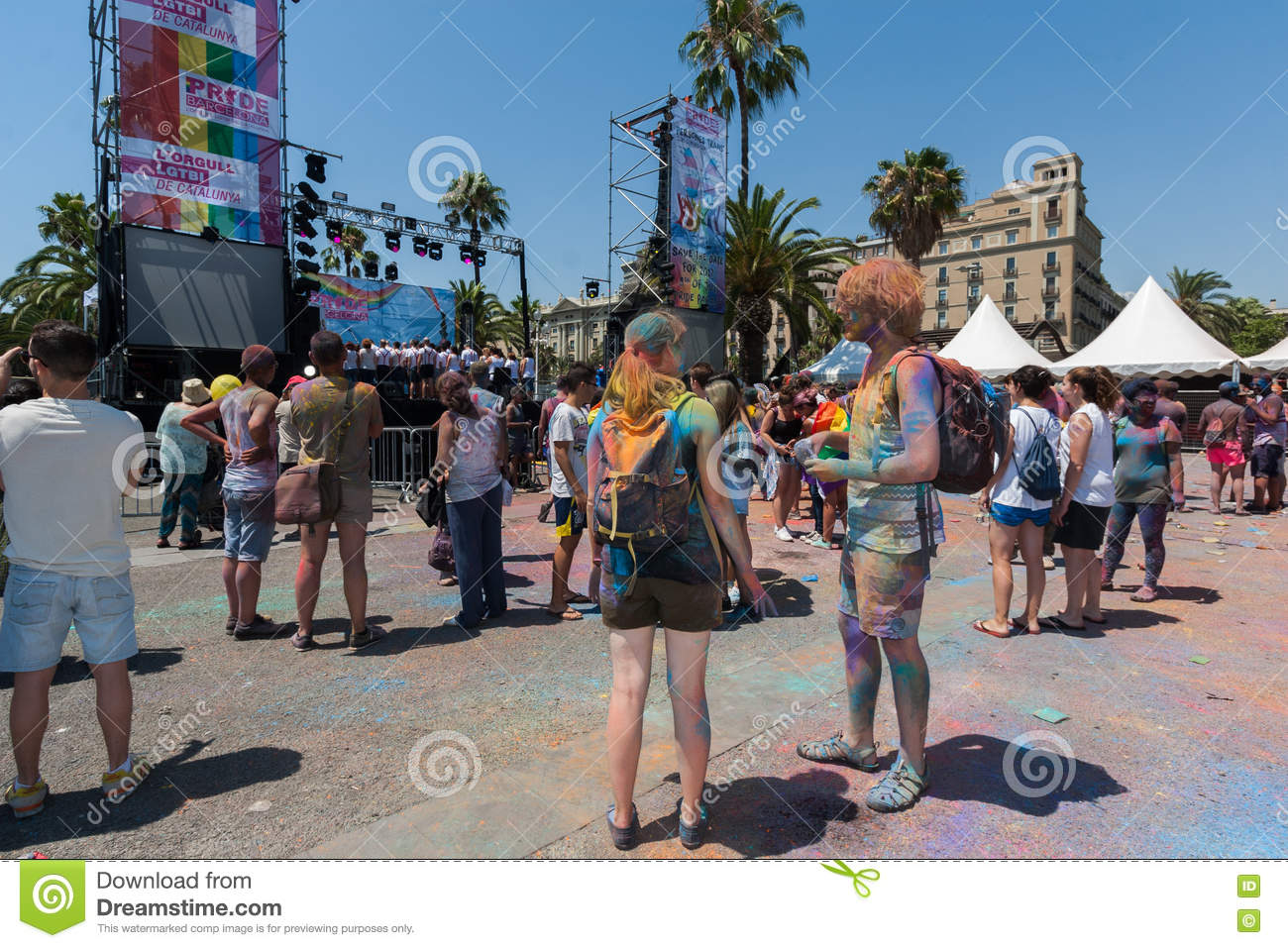 BARCELONA, SPAIN - JULY 9, 2014: Holi festival