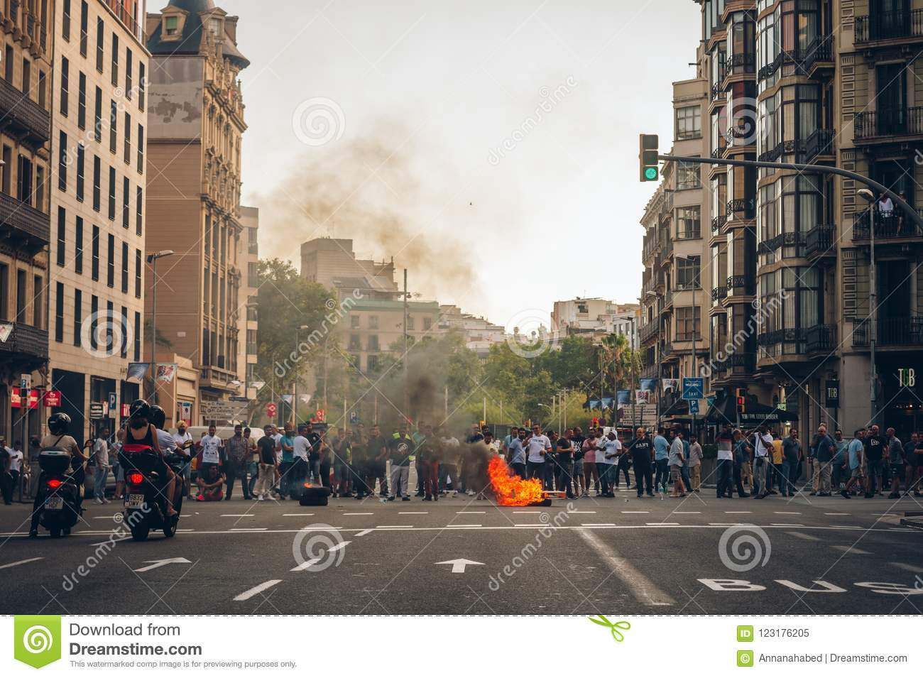 Barcelona, Spain - July 27, 2018: Taxi strike over Uber and Cabify.