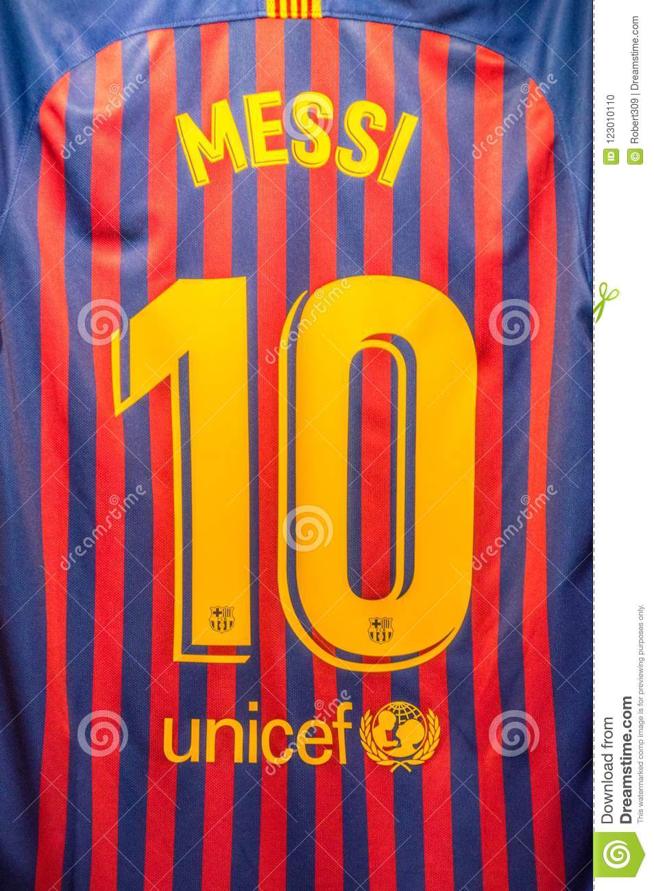 6989a1b1895 Messi And Number 10 On T-shirt Of Futbol Club Barcelona. Editorial ...