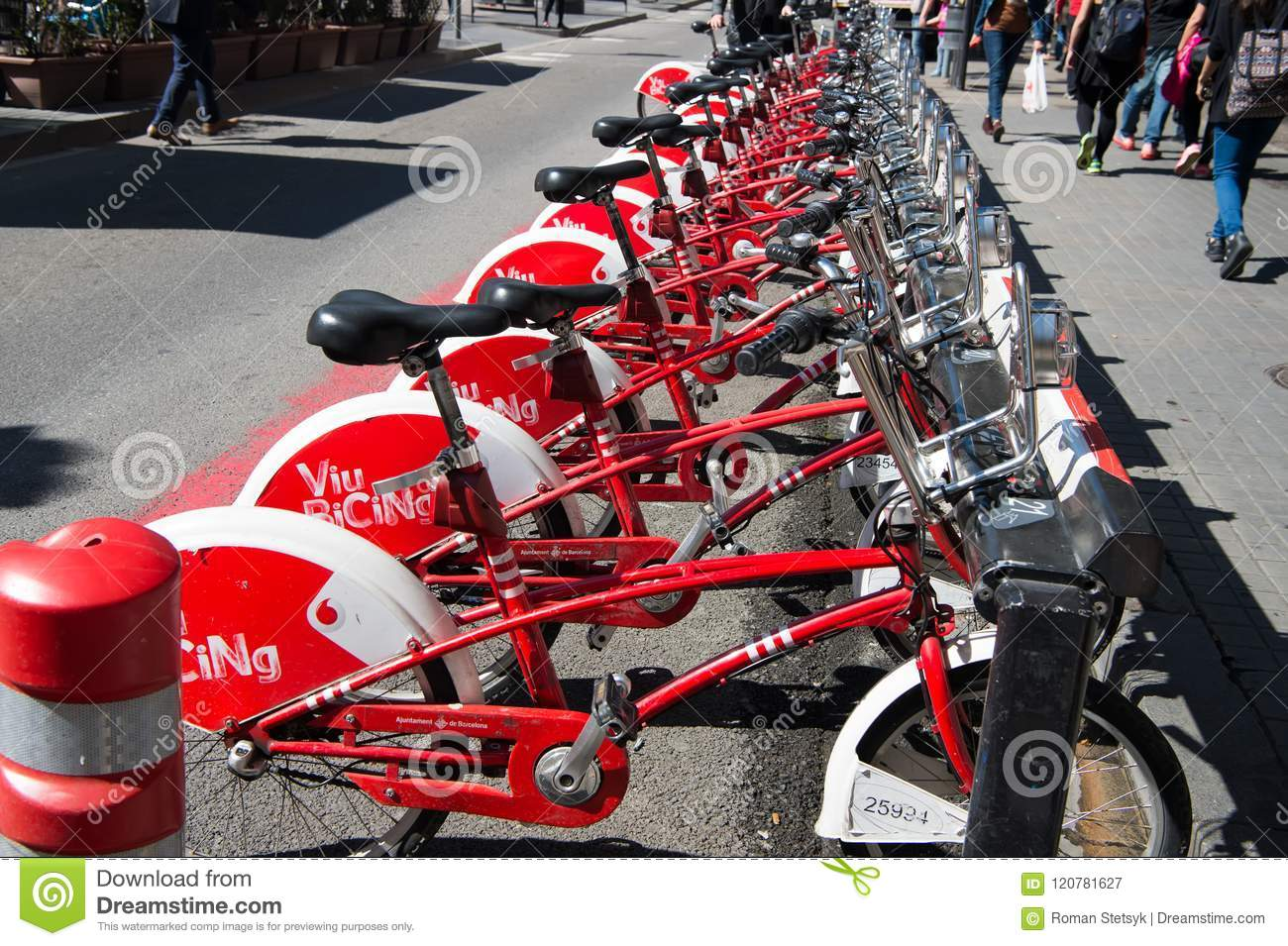 Barcelona, Spain - March 30, 2016: bicycles for rent. Viu Bicing bikes. Public transport of bicycle. City tour and