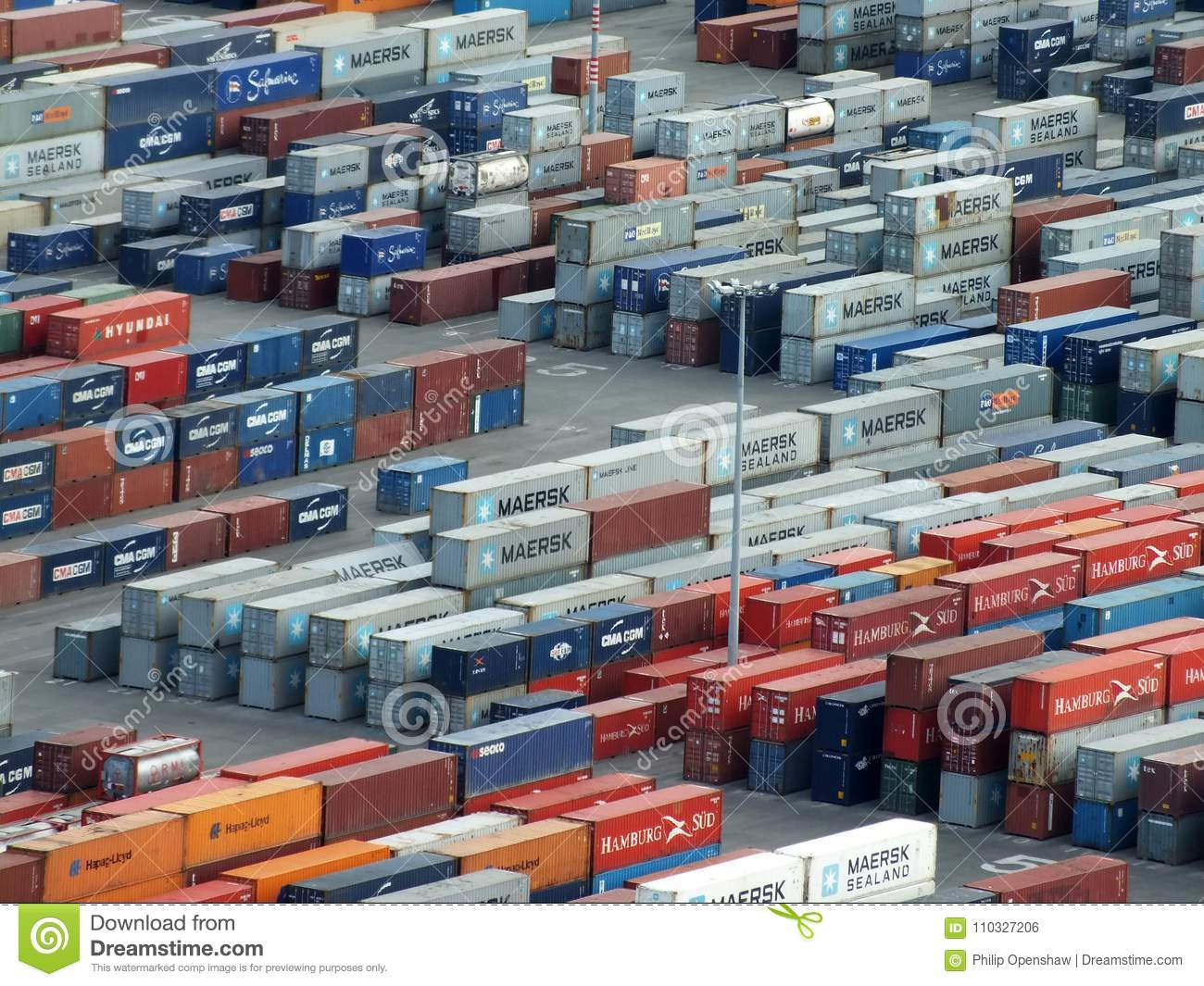 d1e63602de3e84 Stacked Shipping Containers At The Cargo Port Of Barcelona ...