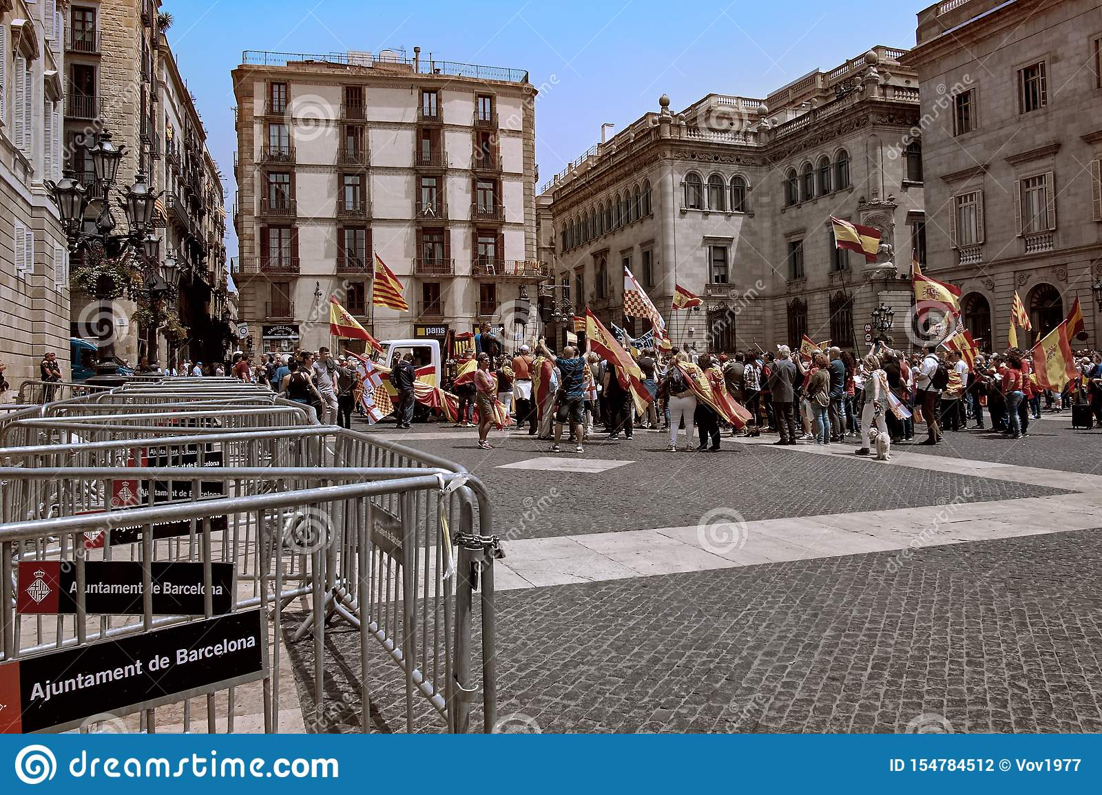 Barcelona, Spain - May, 27 2018: Catalans waving Estelada flags during march for independence protesting for spanish government