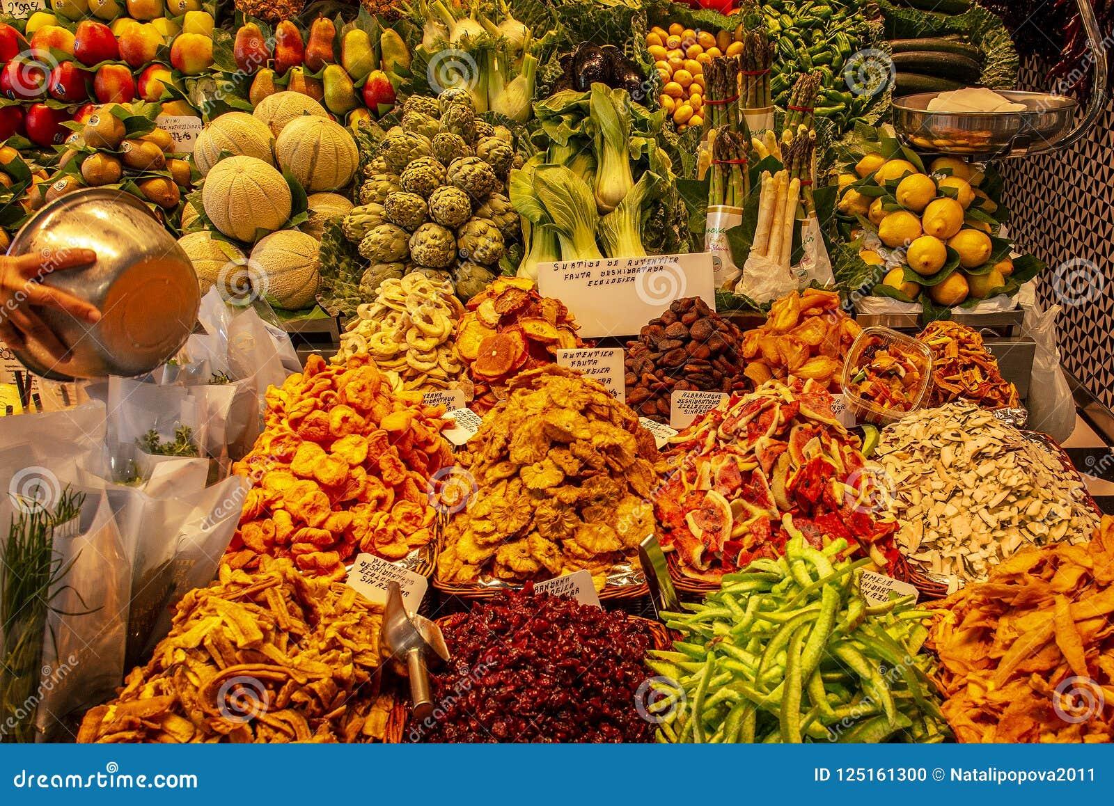 BARCELONA, SPAIN - May 17, 2018: Famous La Boqueria market with