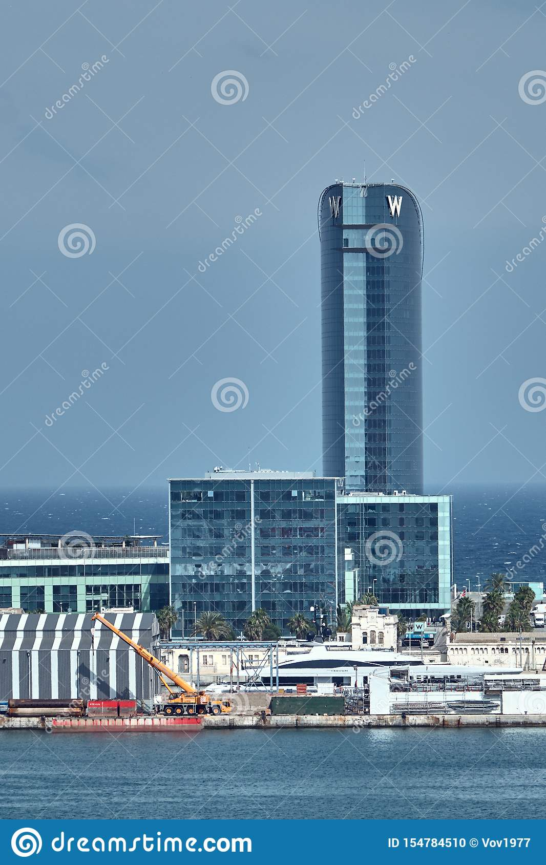 Barcelona, Spain - May, 27 2018: W Barcelona Hotel, known as the Hotel Vela Sail Hotel designed by Ricardo Bofill located in the