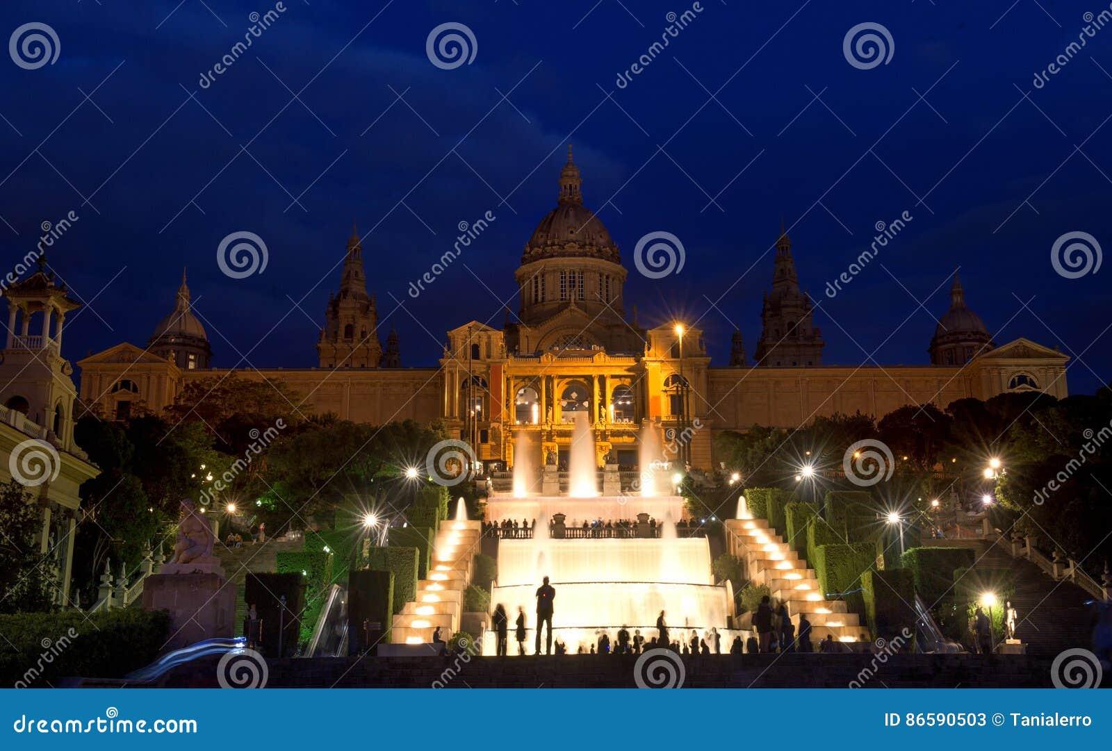 Barcelona, Spain - MNAC National art museum and fountain in Plaza de Espana