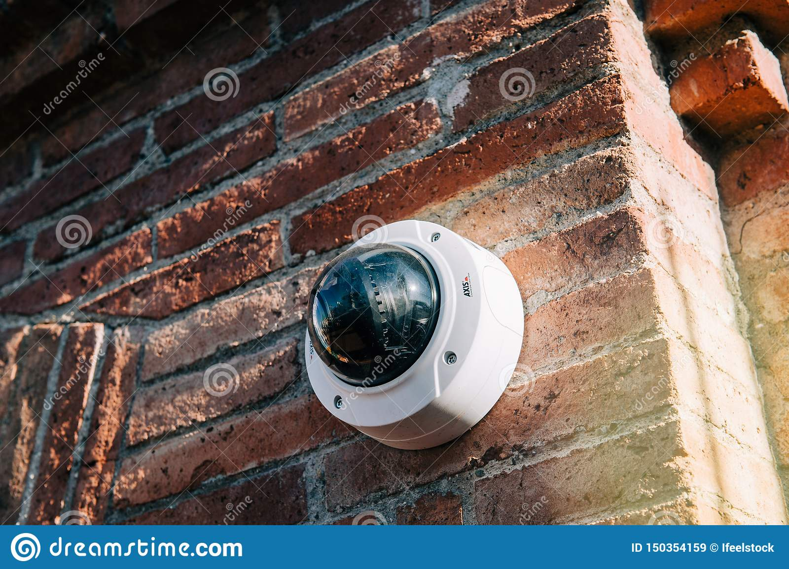 Axis 360 Degrees Surveillance Camera On Brick Wall ...
