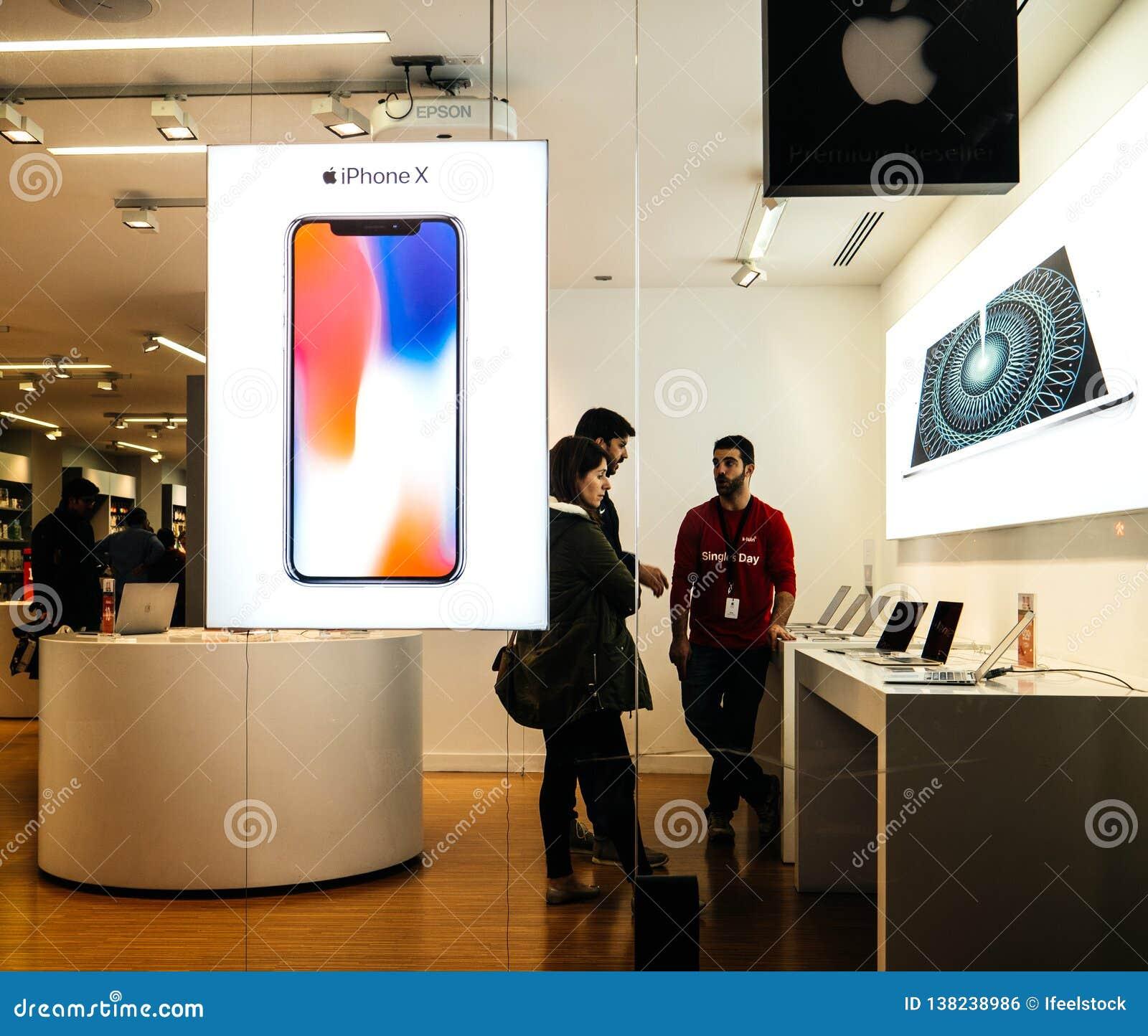 Customers Inside Apple Store Authorised Reseller In European