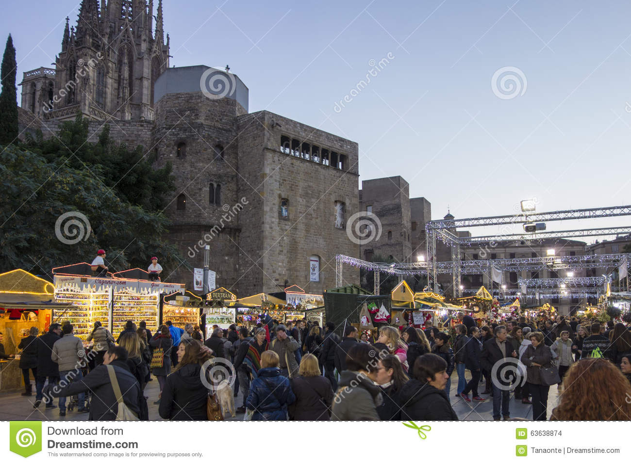 Barcelona, Spain - November 28, 2015: Stands with Christmas gifts in Barcelona, Spain. Fira de Santa Llucia - Christmas market