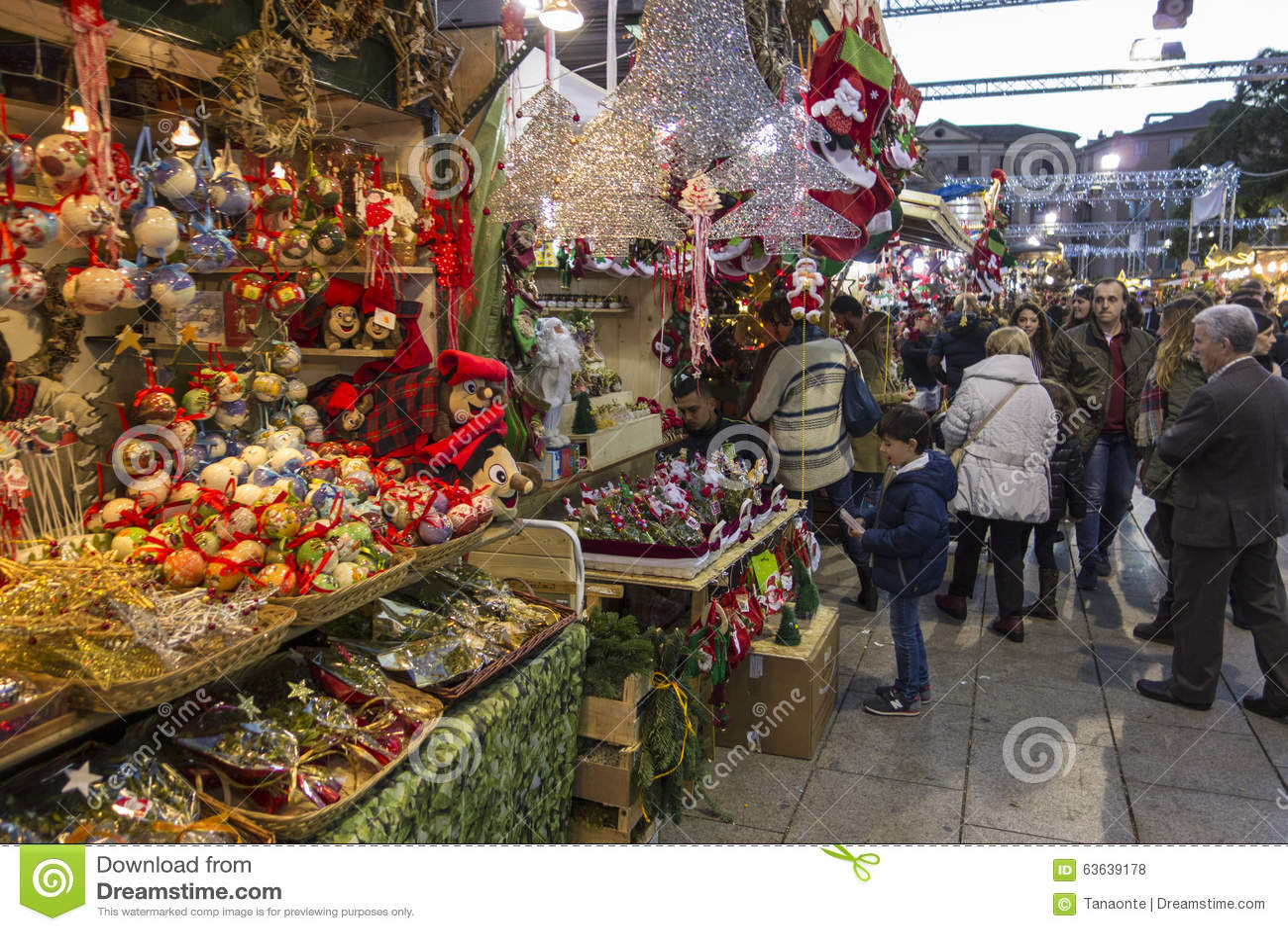 Barcelona, Spain - November 28, 2015: Stands with Christmas gifts in Barcelona, Spain. Fira de Santa Llucia - Christmas market