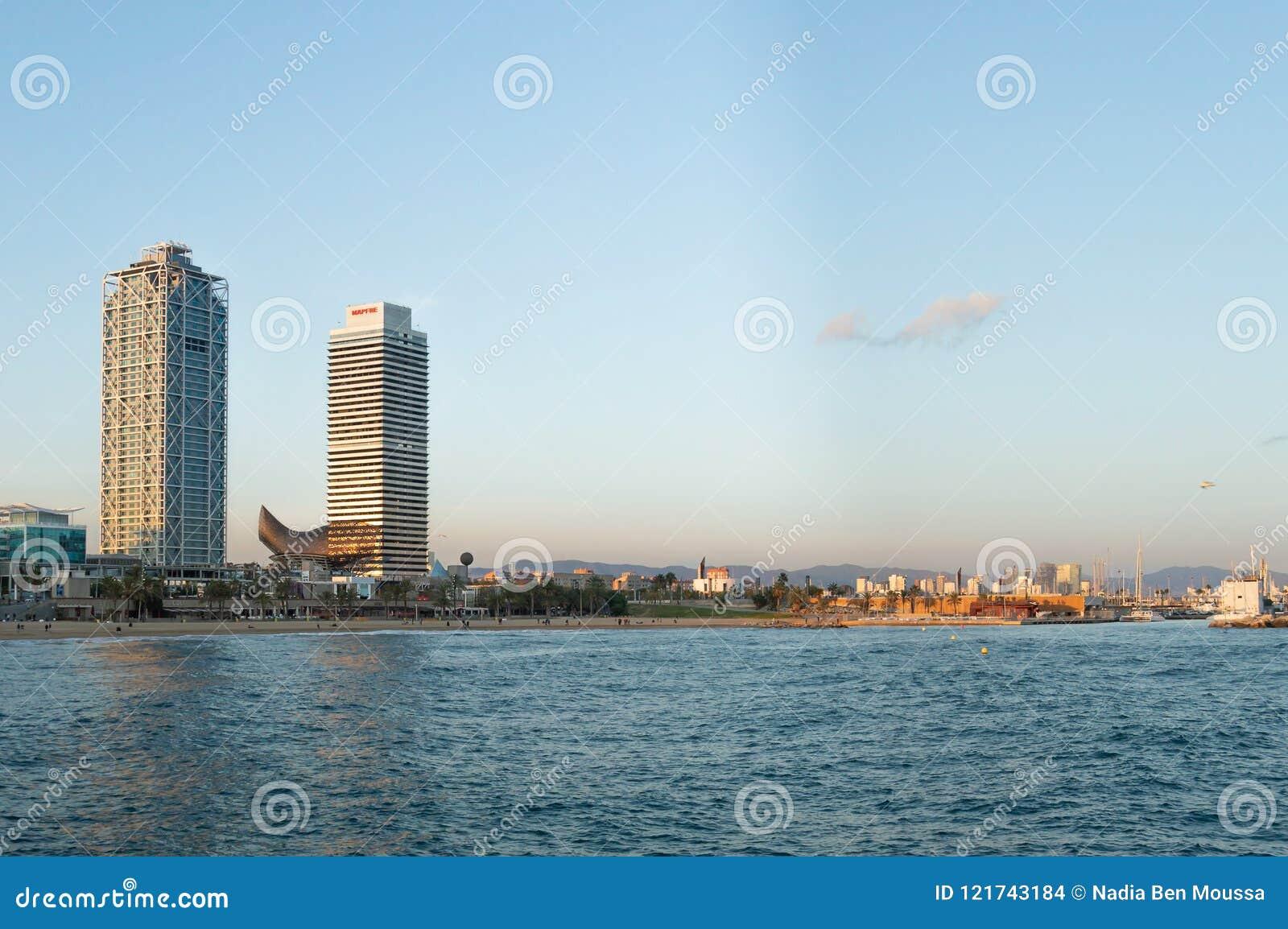Barcelona, Spain, October, 2016: Beach panorama from the Mediterranean sea