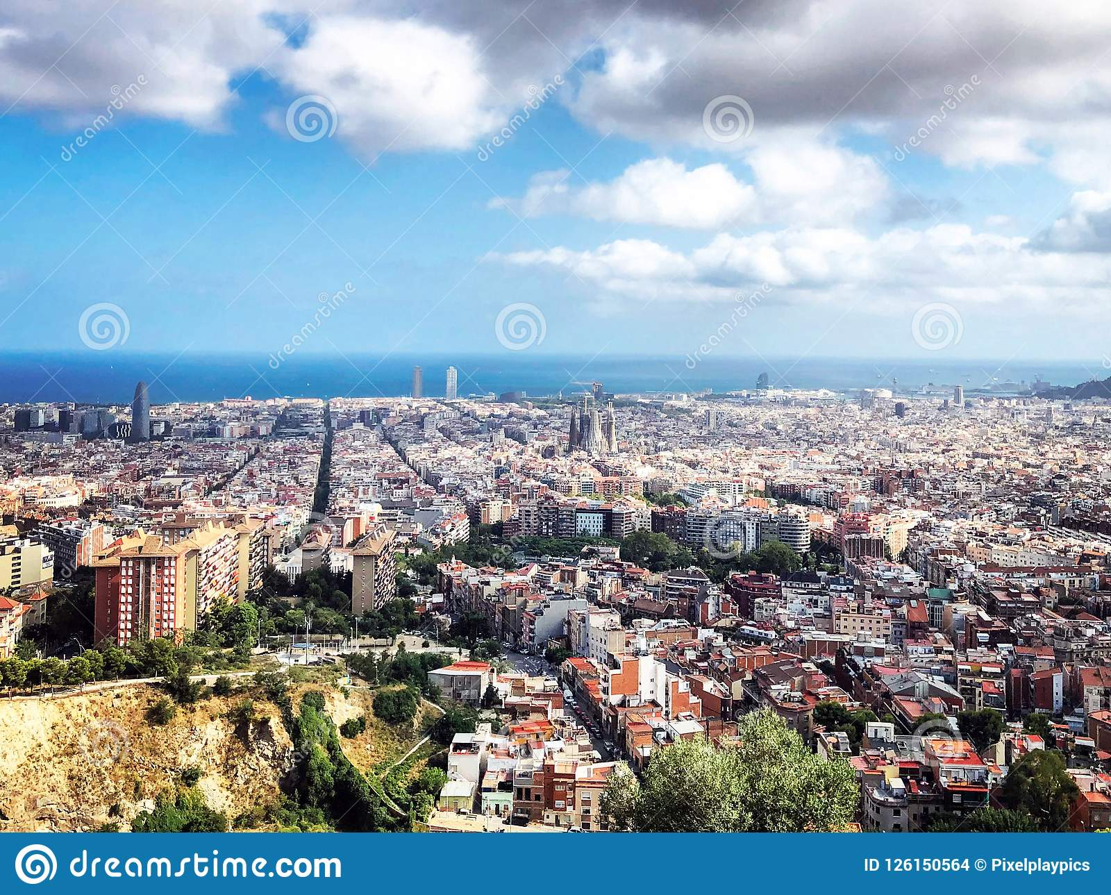 Barcelona Spain, Panoramic City View From The Top Stock ...