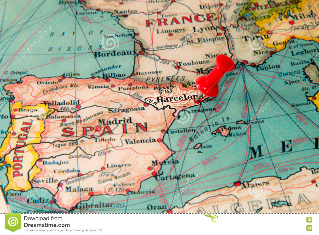 Barcelona Spain Pinned On Vintage Map Of Europe Stock Photo - Barcelona map europe