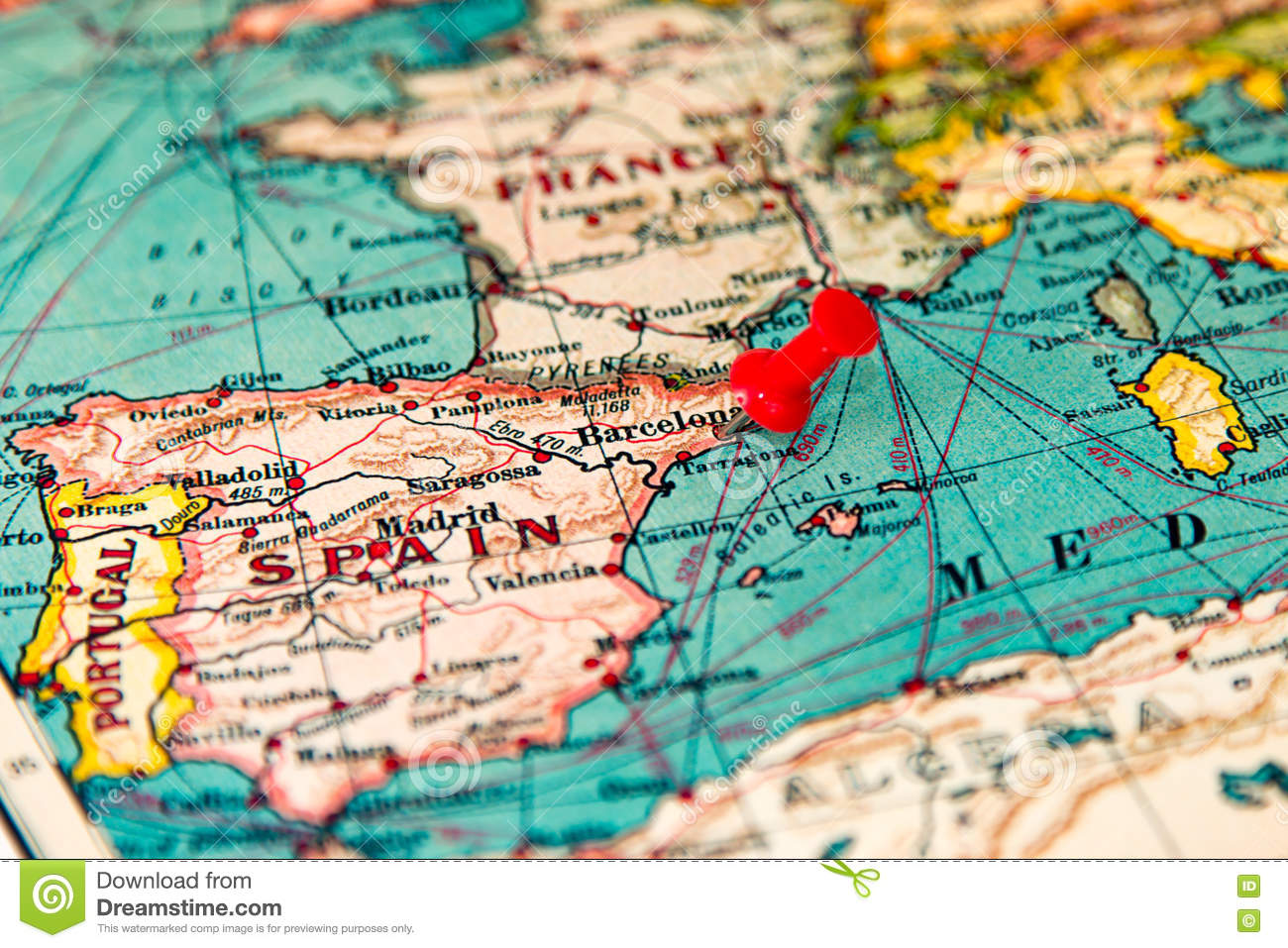 Barcelona Spain Pinned On Vintage Map Of Europe Stock Photo Image Of Cartography Exploration 78865180