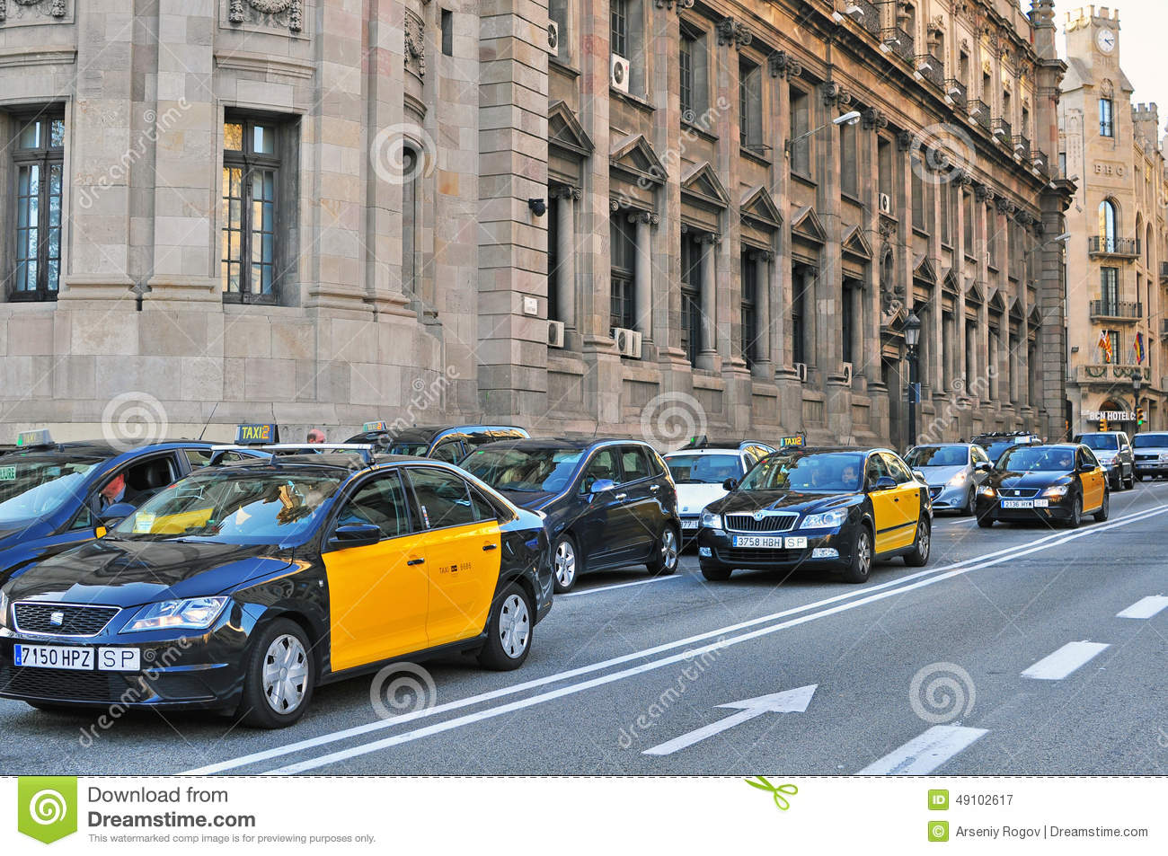 Barcelona taxi cars editorial photography image 49102617 - Cab in barcelona ...