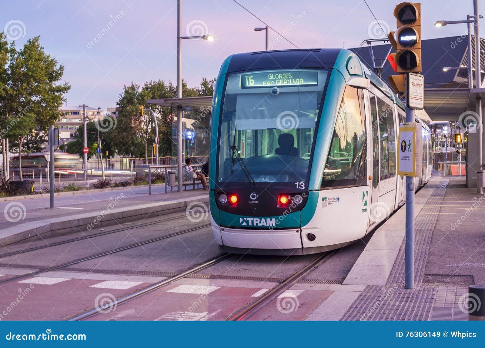 Barcelona tram at dusk