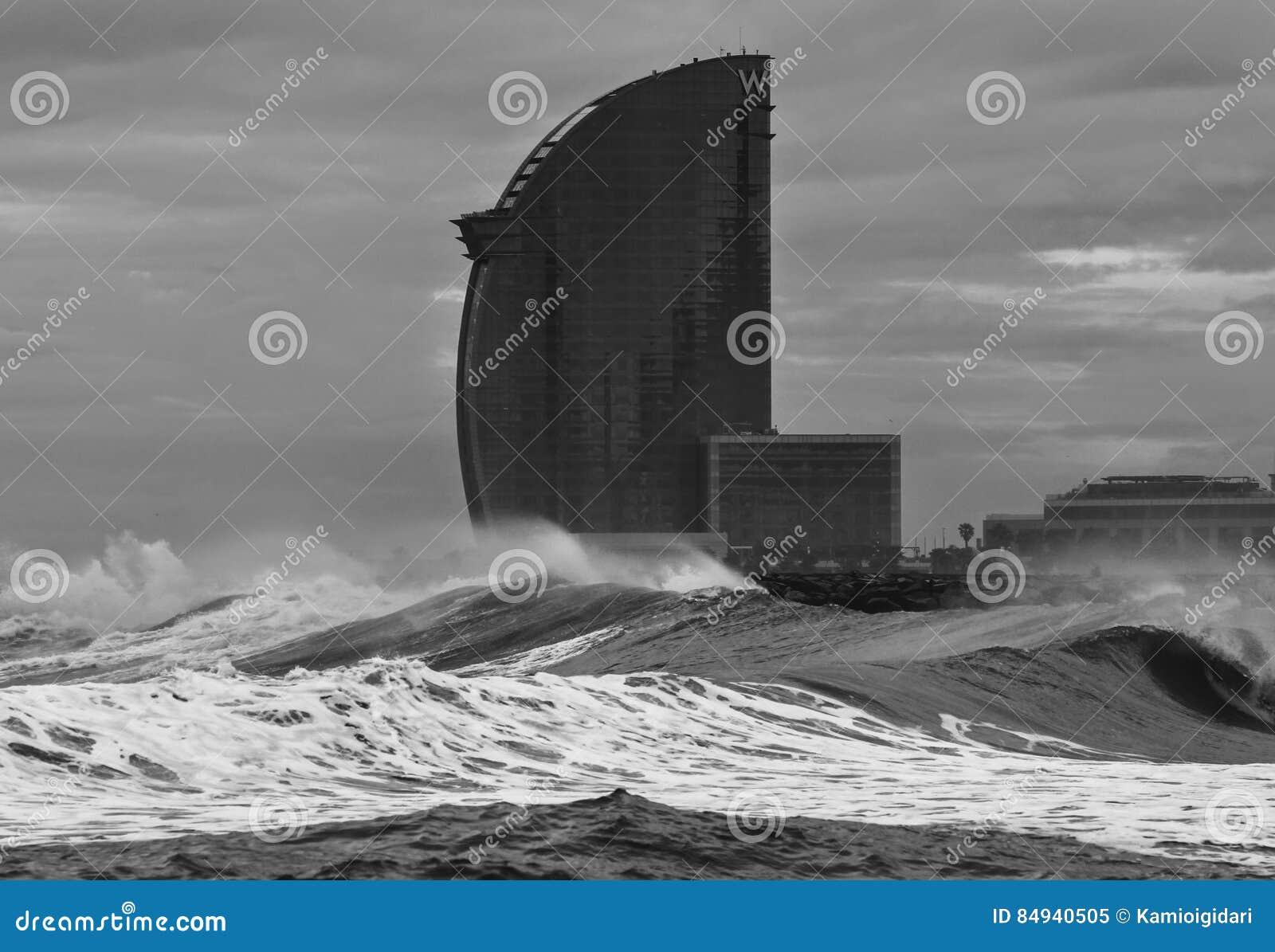 Barcelona W hotel in storm
