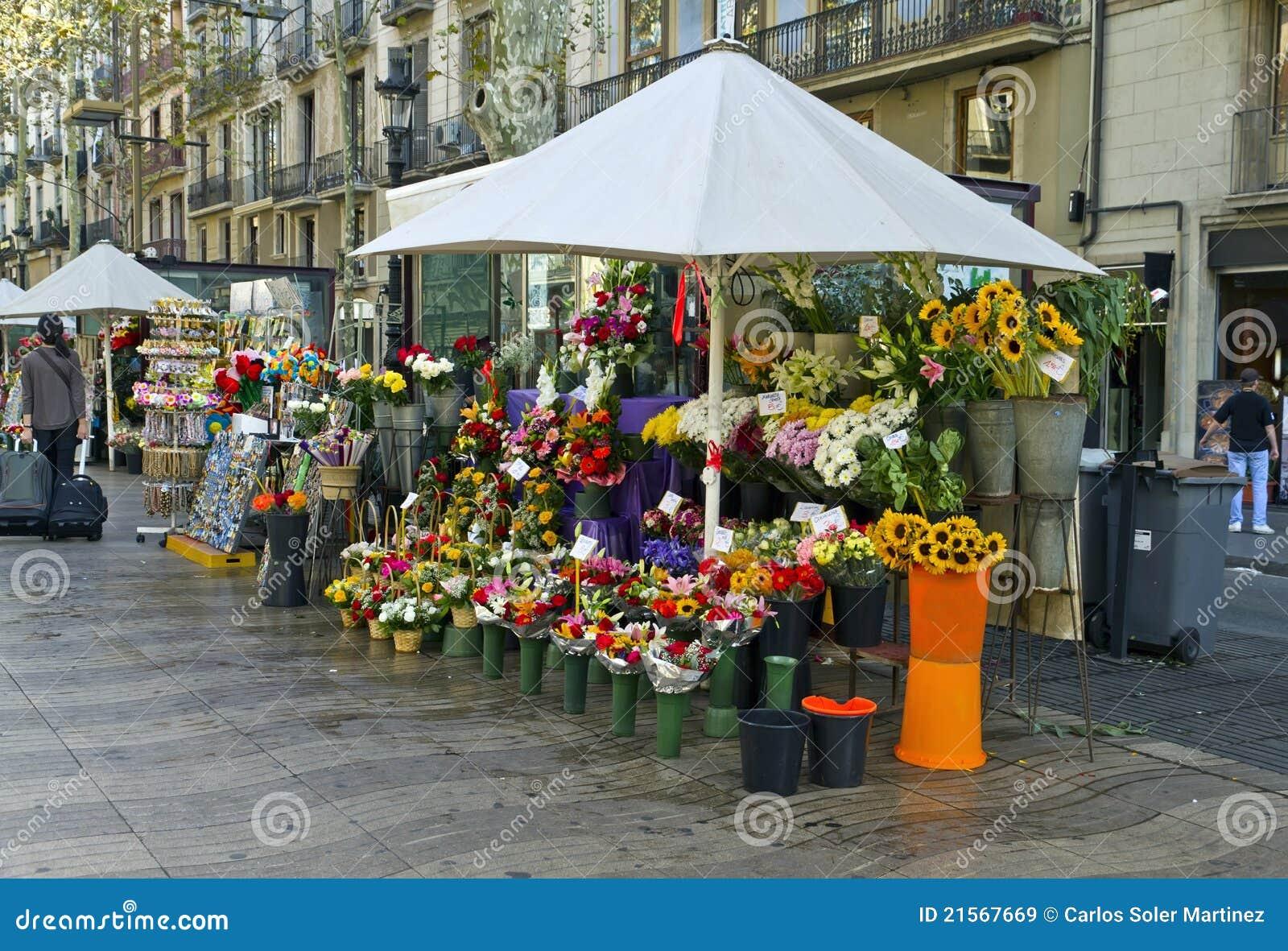 Barcelone Rambla Des Fleurs Images libres de droits - Image: 21567669
