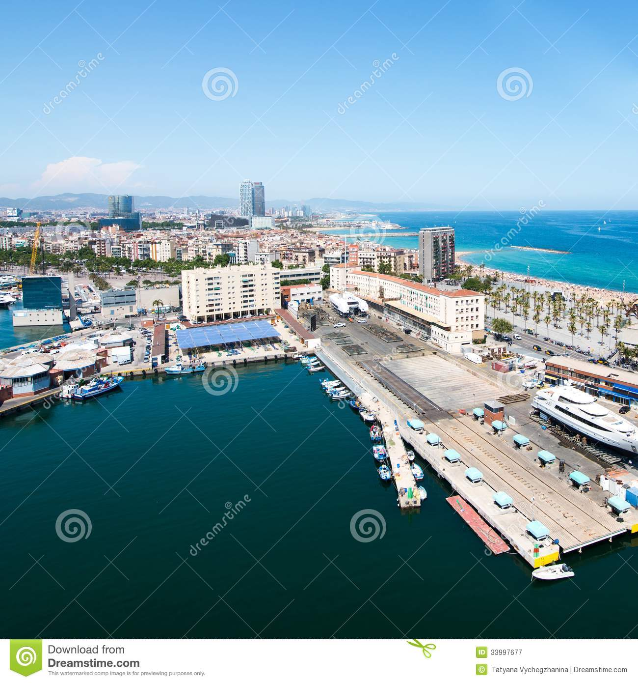 Birds Eye View Barcelona: Barceloneta Beach Stock Image. Image Of Architecture