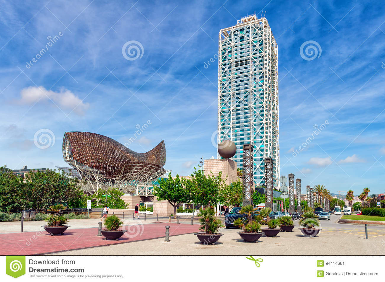 Barceloneta beach promenade with modern architecture in Barcelona, Spain