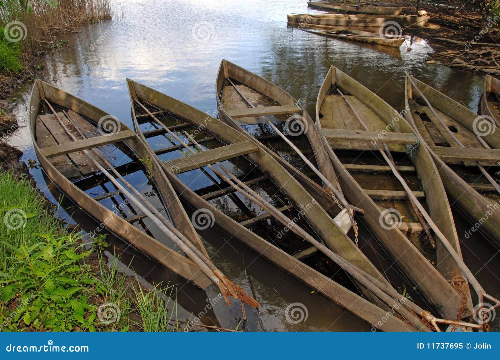 Barche Di Legno In Una Palude Fotografia Stock Libera da Diritti - Immagine: 11737695