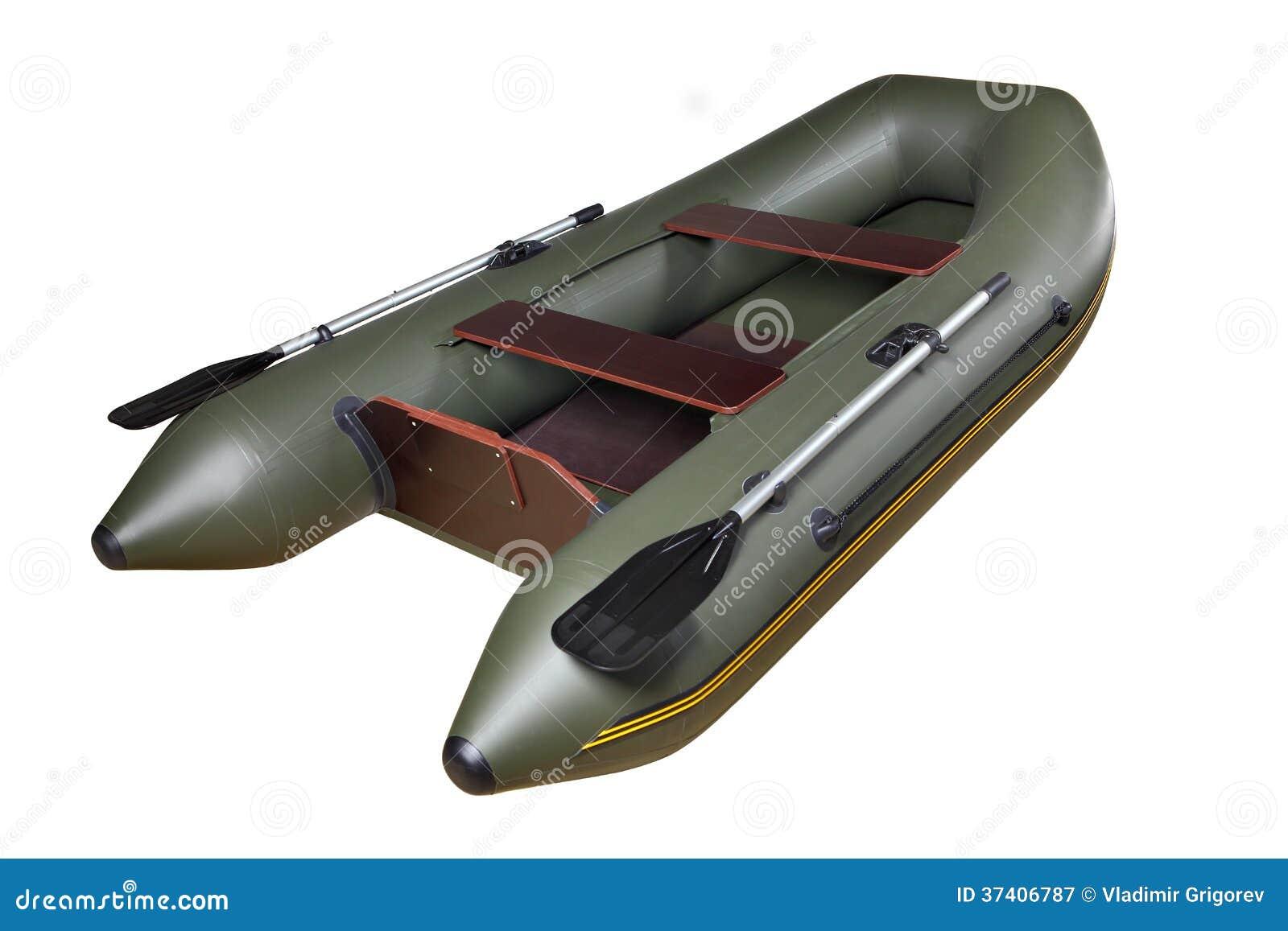 Barco de borracha inflável feito de PVC, verde, dobro, com remos.