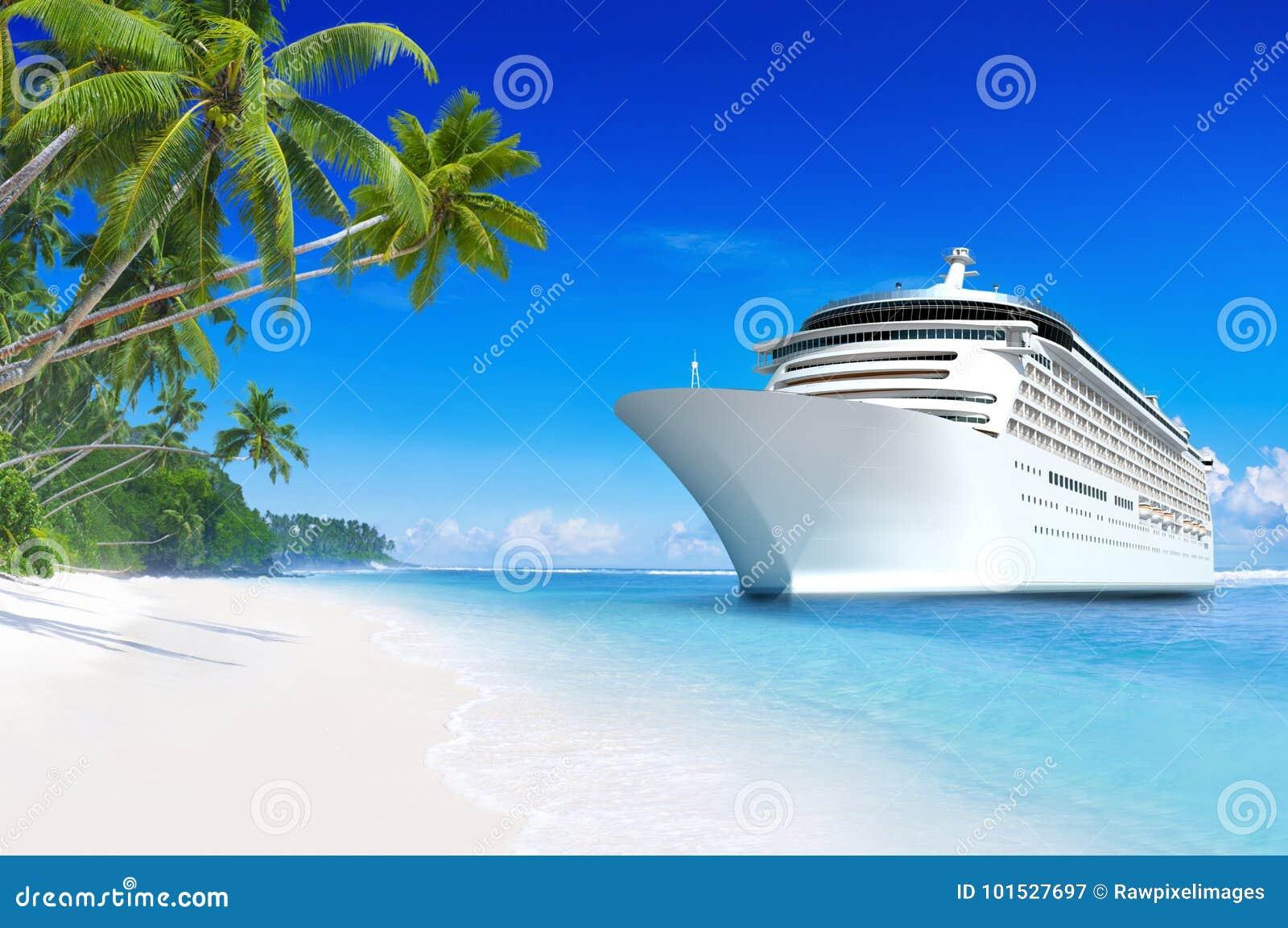 Barco de cruceros 3D en un paraíso tropical de la playa en Samoa