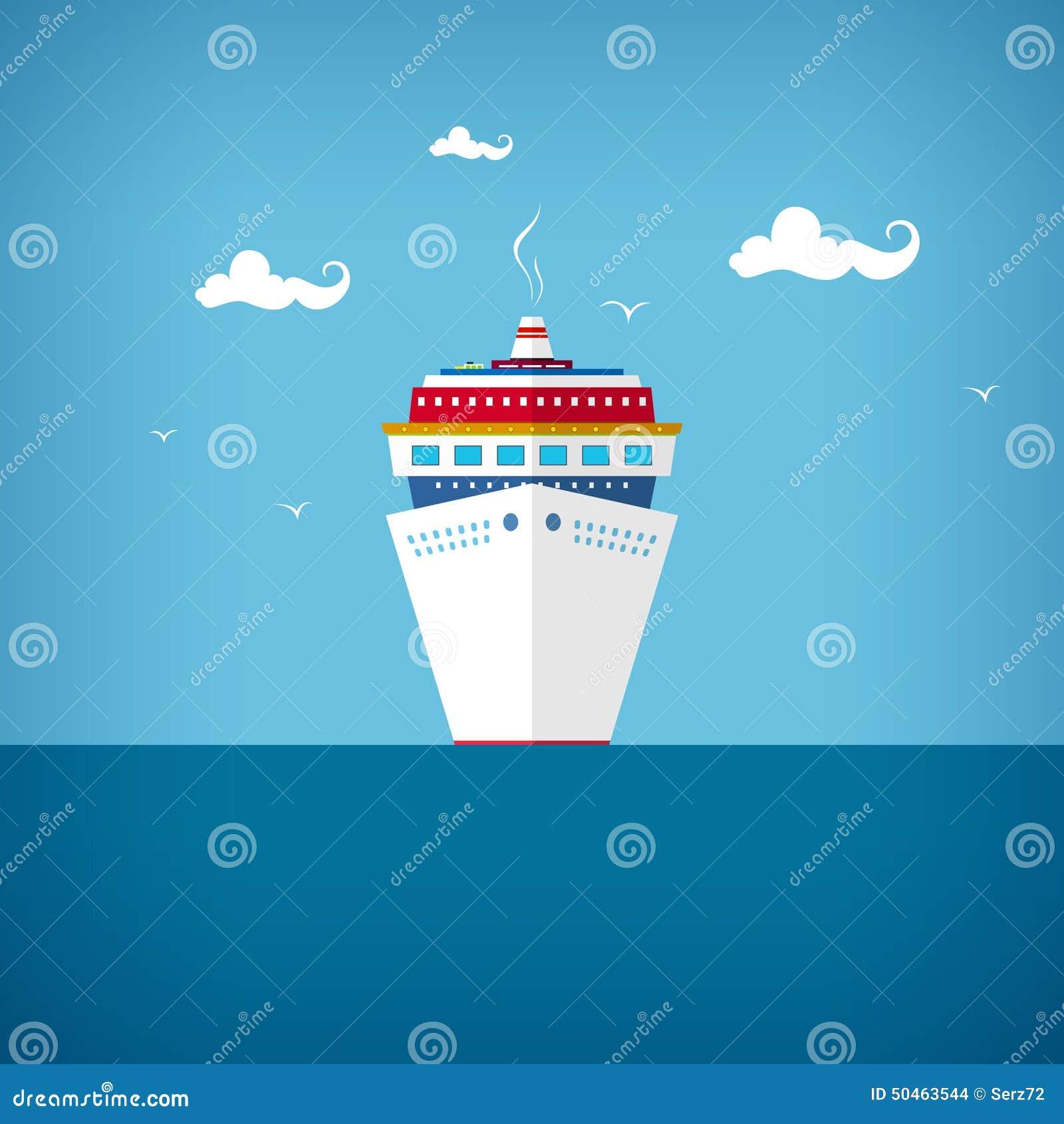 Barco de cruceros en el mar o en el océano en un día soleado