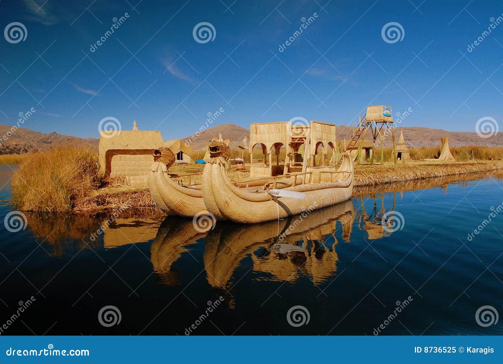 Barco de lingüeta e console de flutuação, lago Titicaca