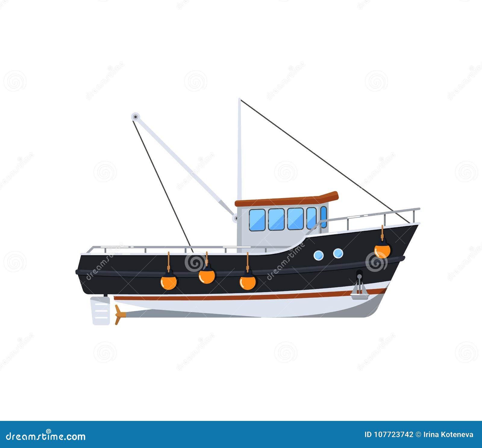 Barco de pesca aislado en el icono blanco