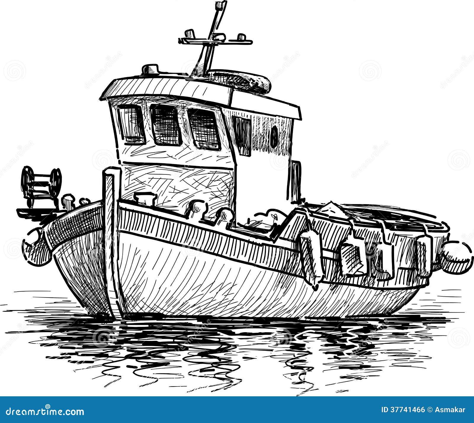 Barco De Pesca Griego Ilustración Del Vector Ilustración De Pesca