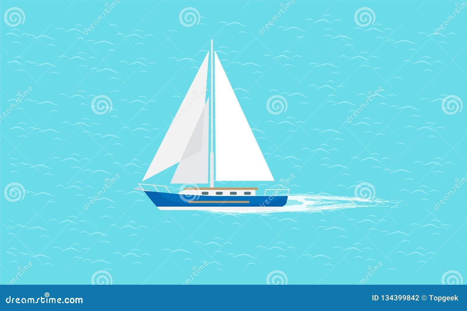 Barco de vela con la navegación blanca de la lona en aguas profundas