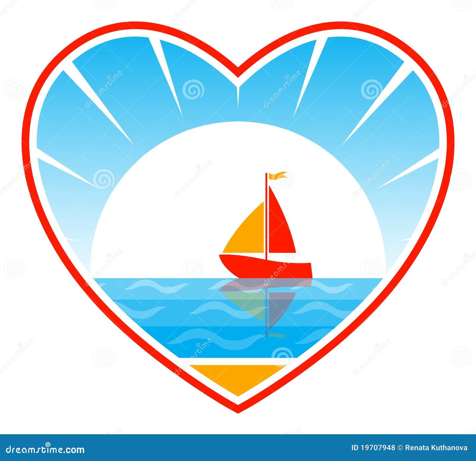 Barco de vela en corazón