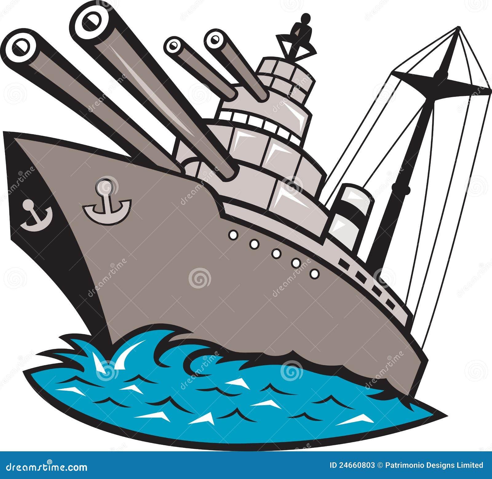 Barco Del Acorazado Del Buque De Guerra Con Los Armas Grandes