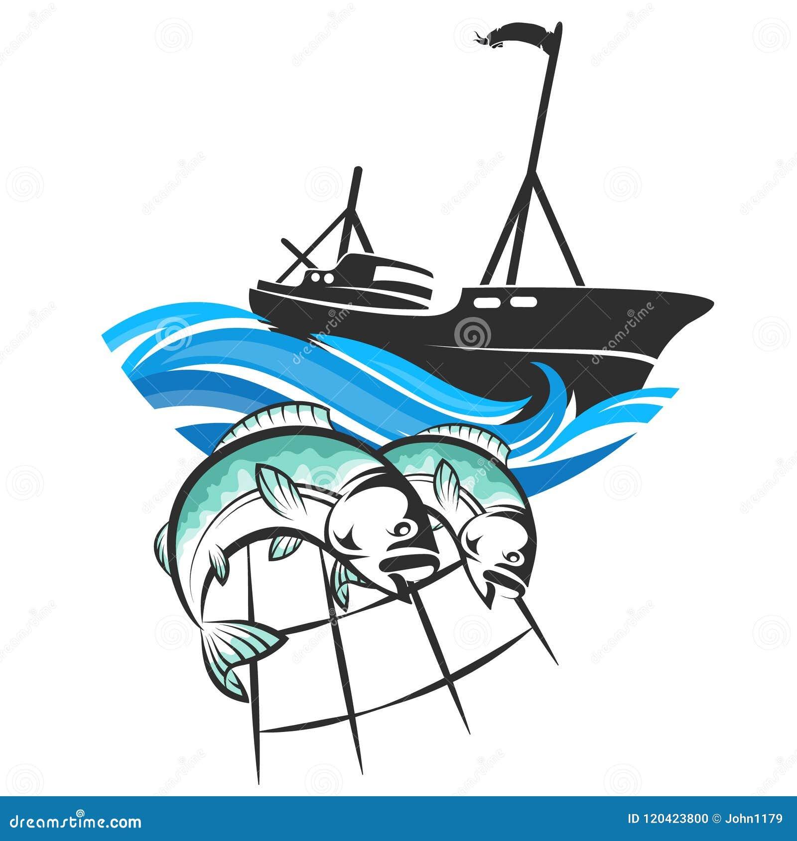 Barco Pesquero Y Pescados En Redes Ilustración Del Vector