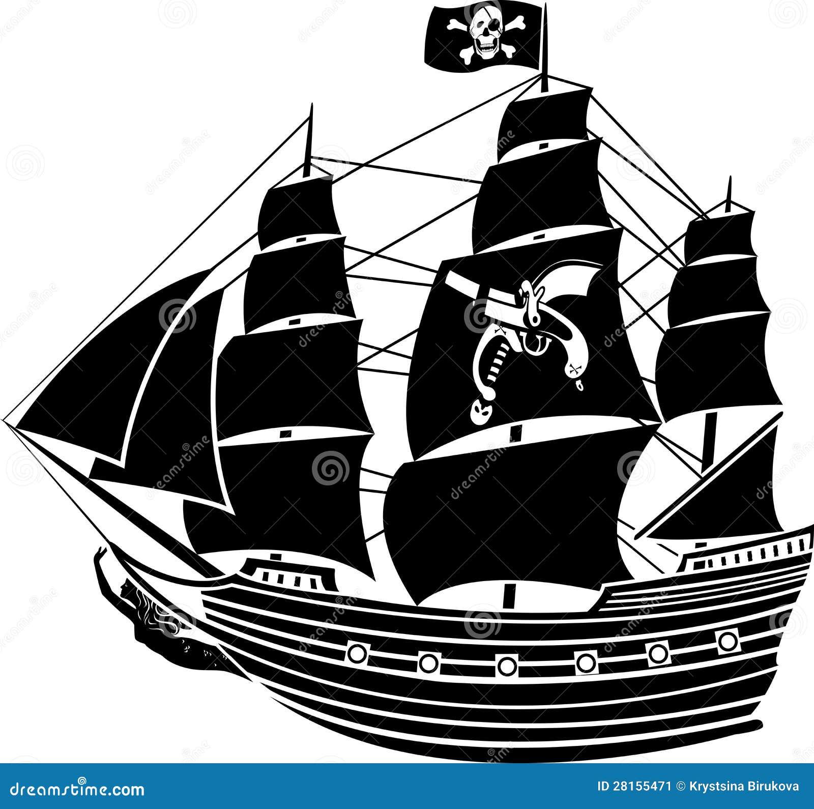 Barco pirata ilustración del vector. Ilustración de horror - 28155471