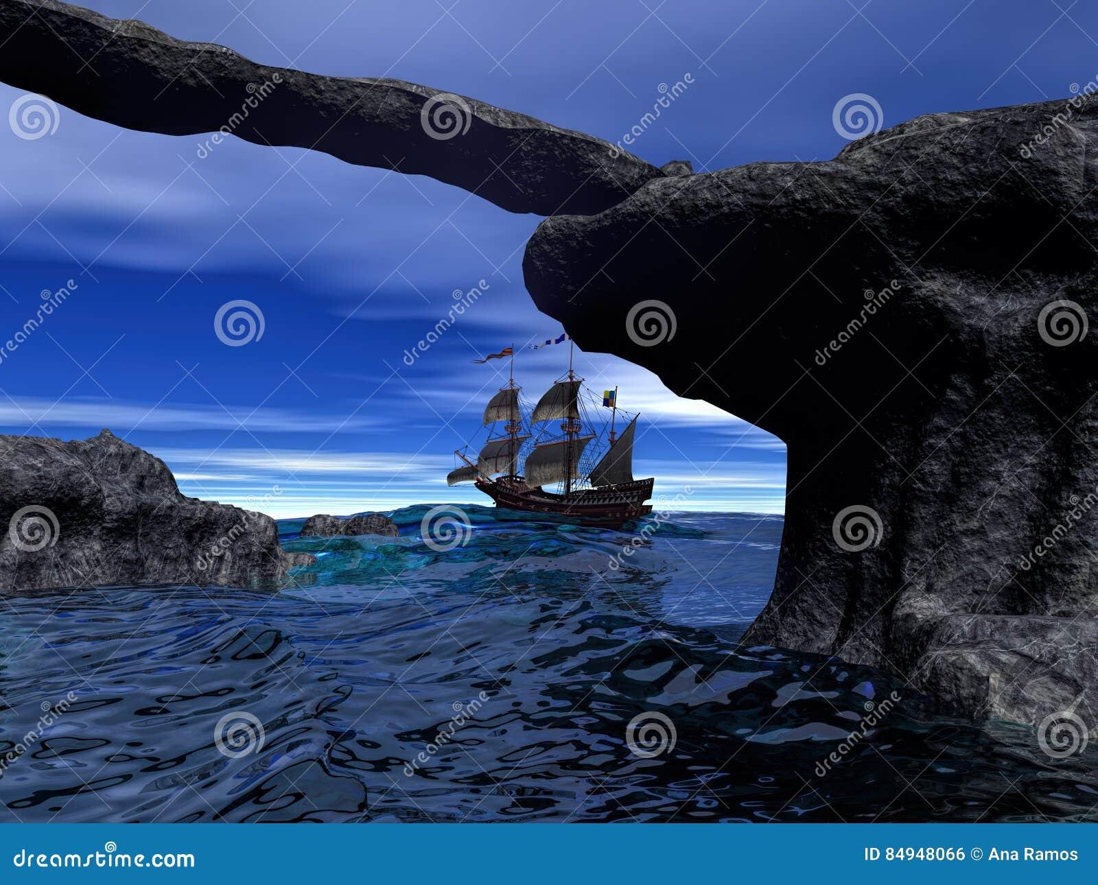 Barco pirata en la representación tranquila del agua 3d