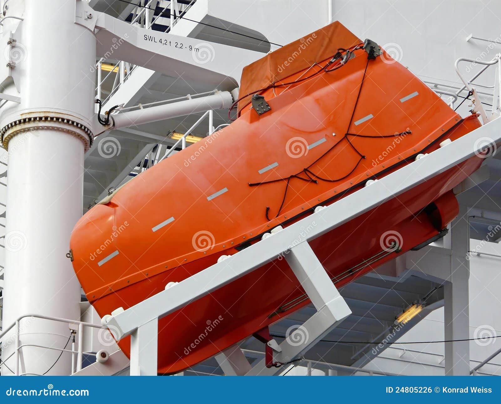 Barco Salva vidas Da Queda Livre Em Um Container ship Imagem de Stock  #BC400F 1300 1065
