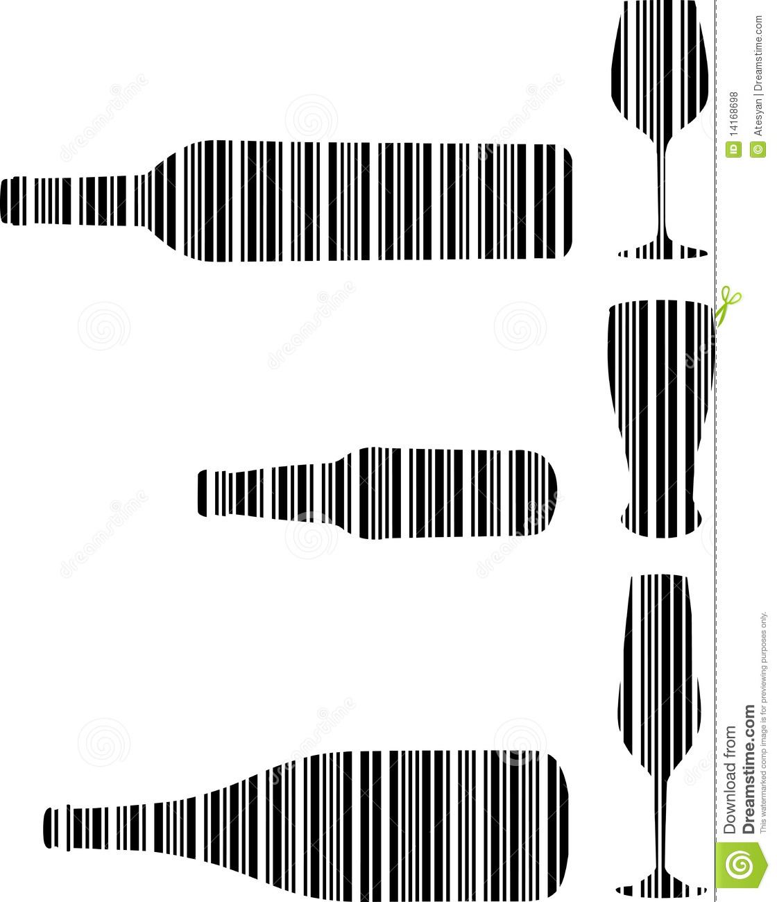 barcode drink bottle and glasses royalty free stock photos