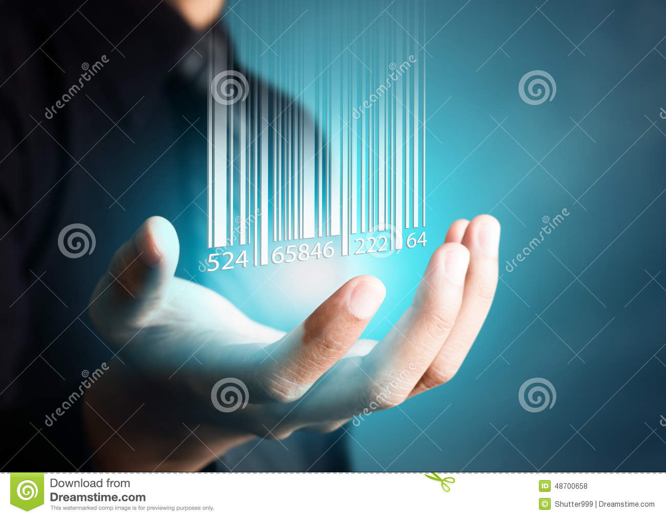 Barcode dropping on businessman hand