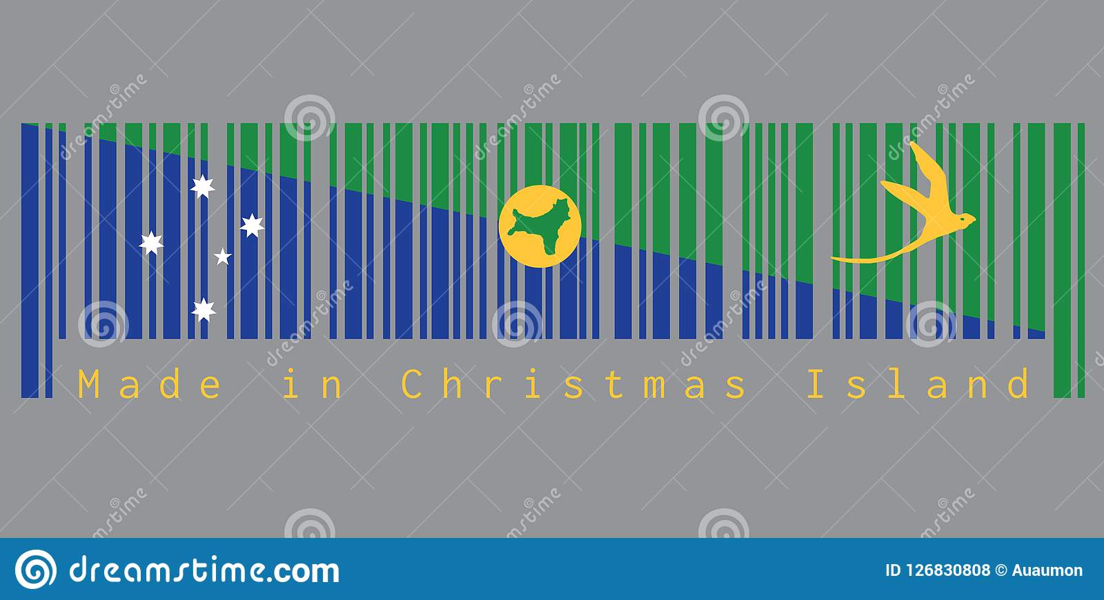 Christmas Island Flag.Barcode Set The Color Of Christmas Island Flag Blue And