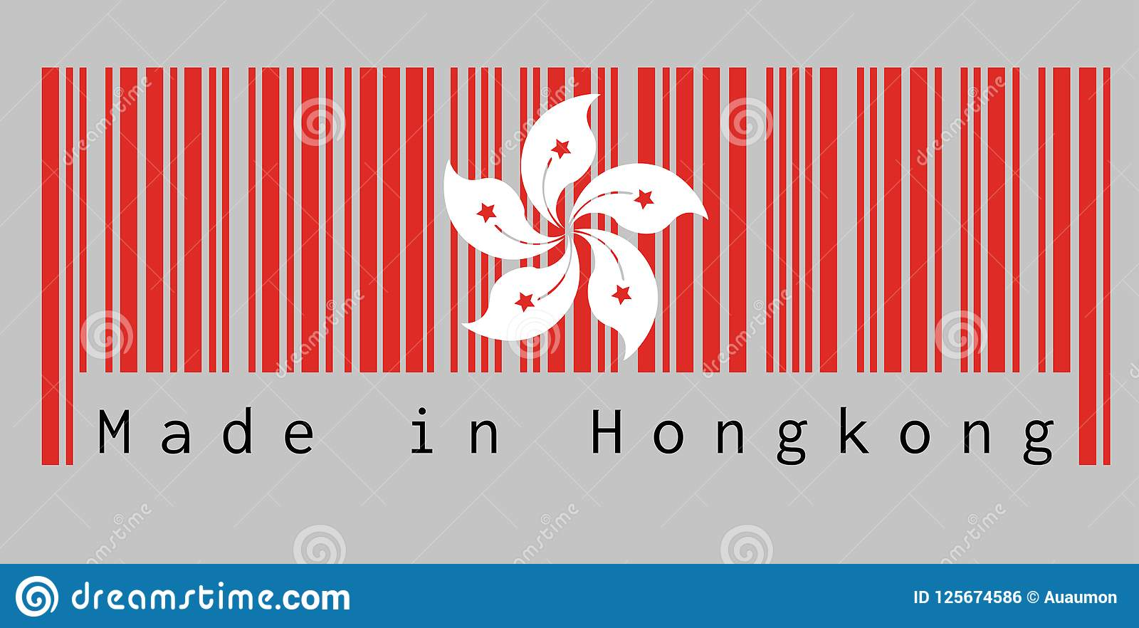 Barcode set the color of hong kong flag the red and white five barcode set the color of hong kong flag the red and white five petal bauhinia mightylinksfo