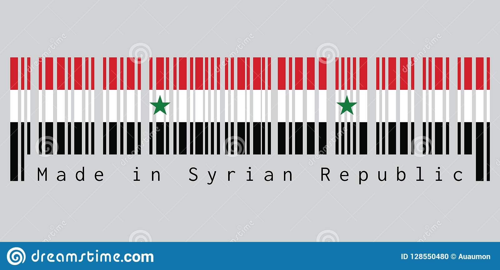 Barcode Set The Color Of Syrian Flag A Horizontal Tricolor Of Red